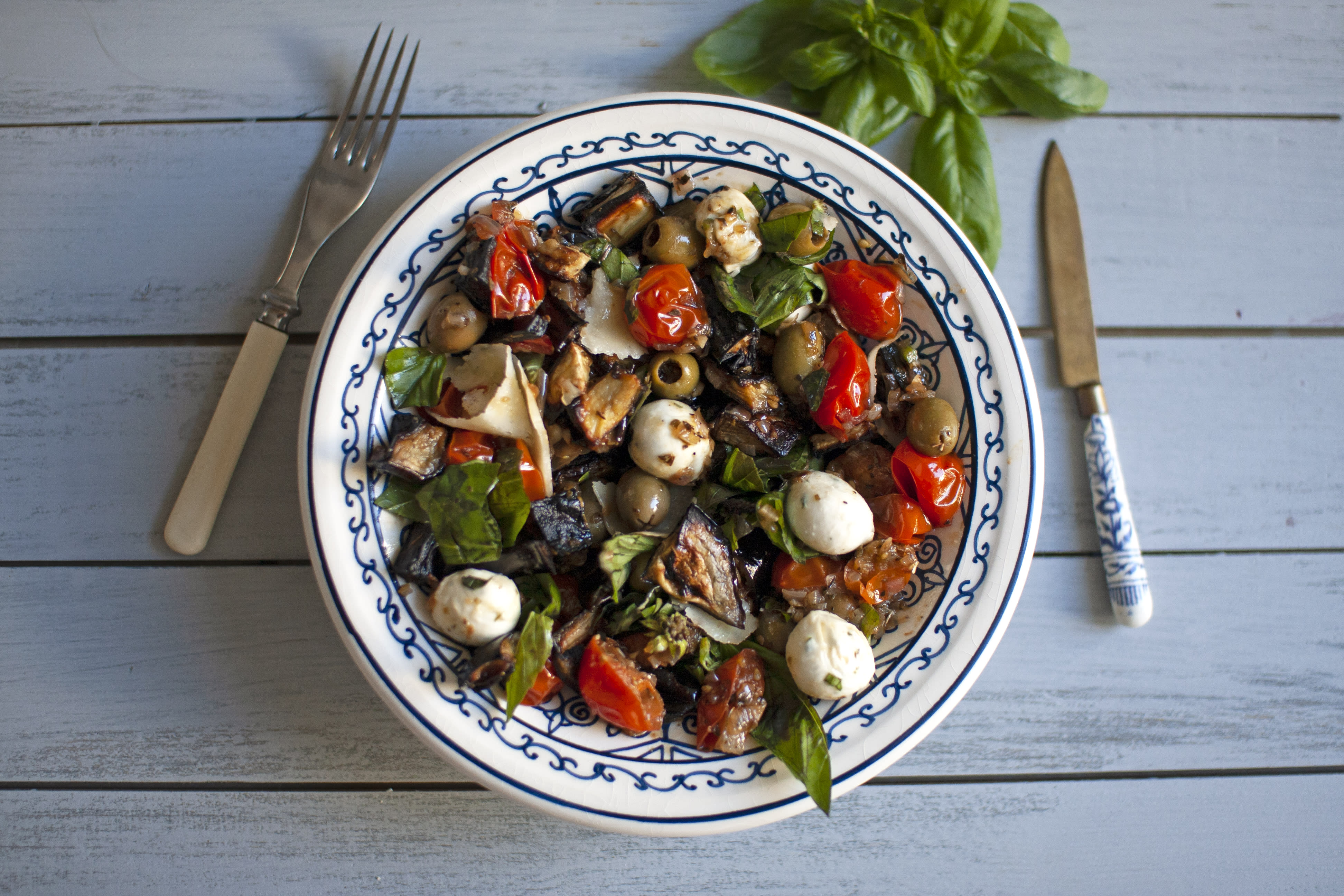 Sicilian Style Eggplant Caponata with Mozzarella and Green Olives