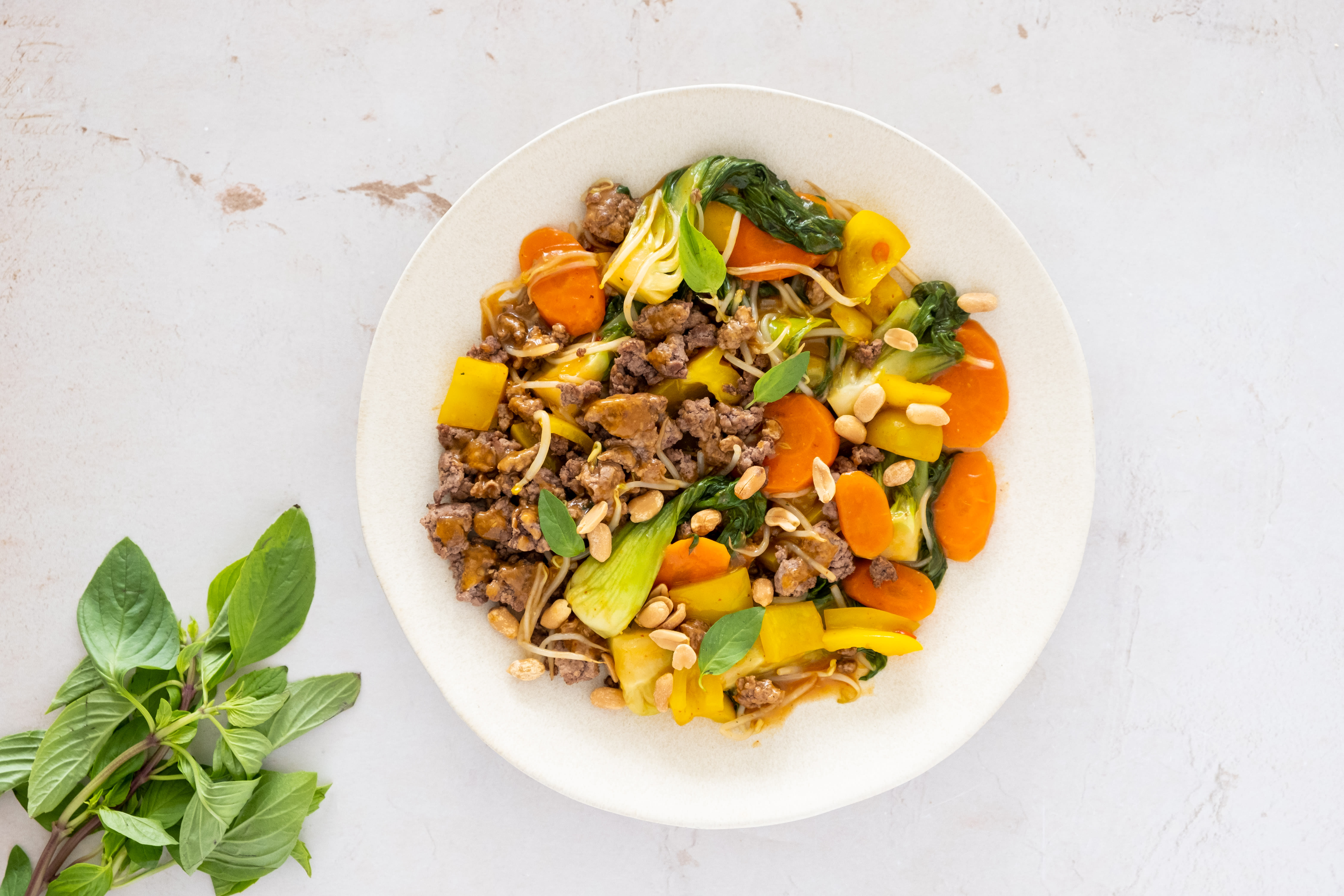 Thai Beef Stir-fry with Pak Choi, Peppers and Peanuts