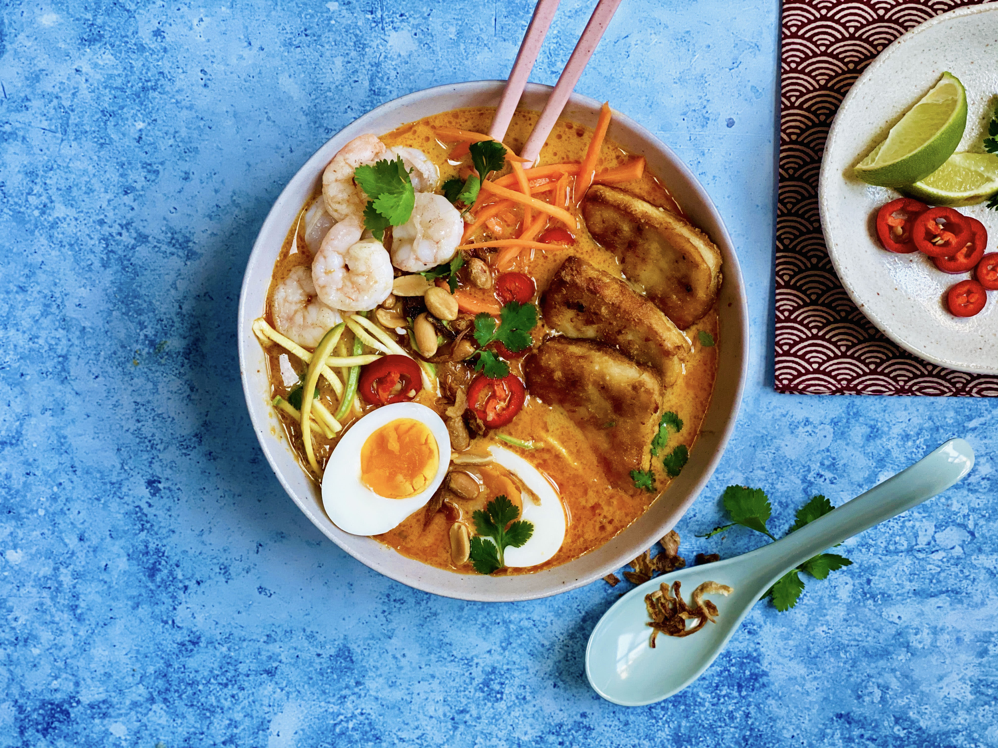 Curried Prawn and Tofu Laksa with Crispy Onions and Egg