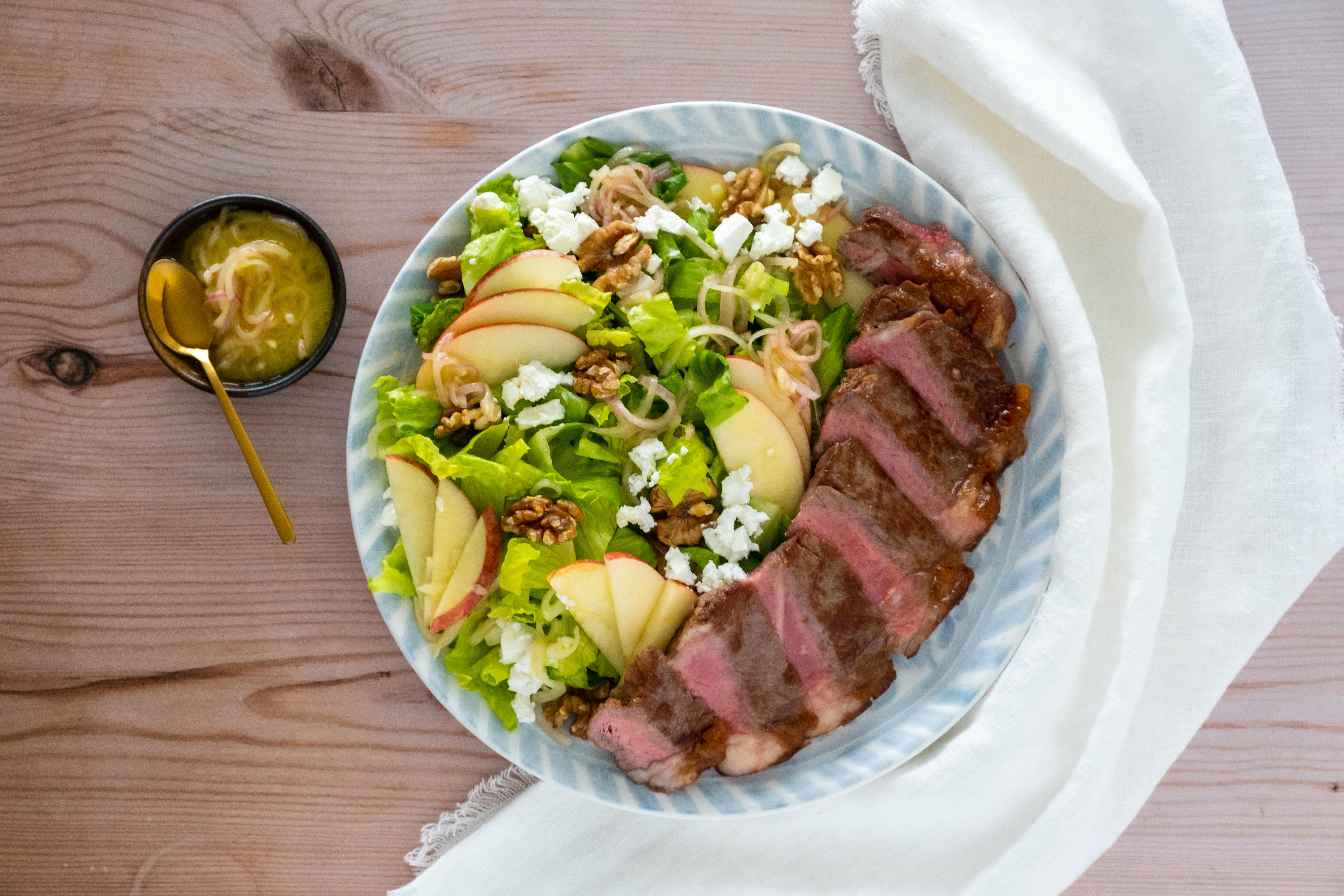 Sirloin Steak with Apple, Walnut and Feta Salad