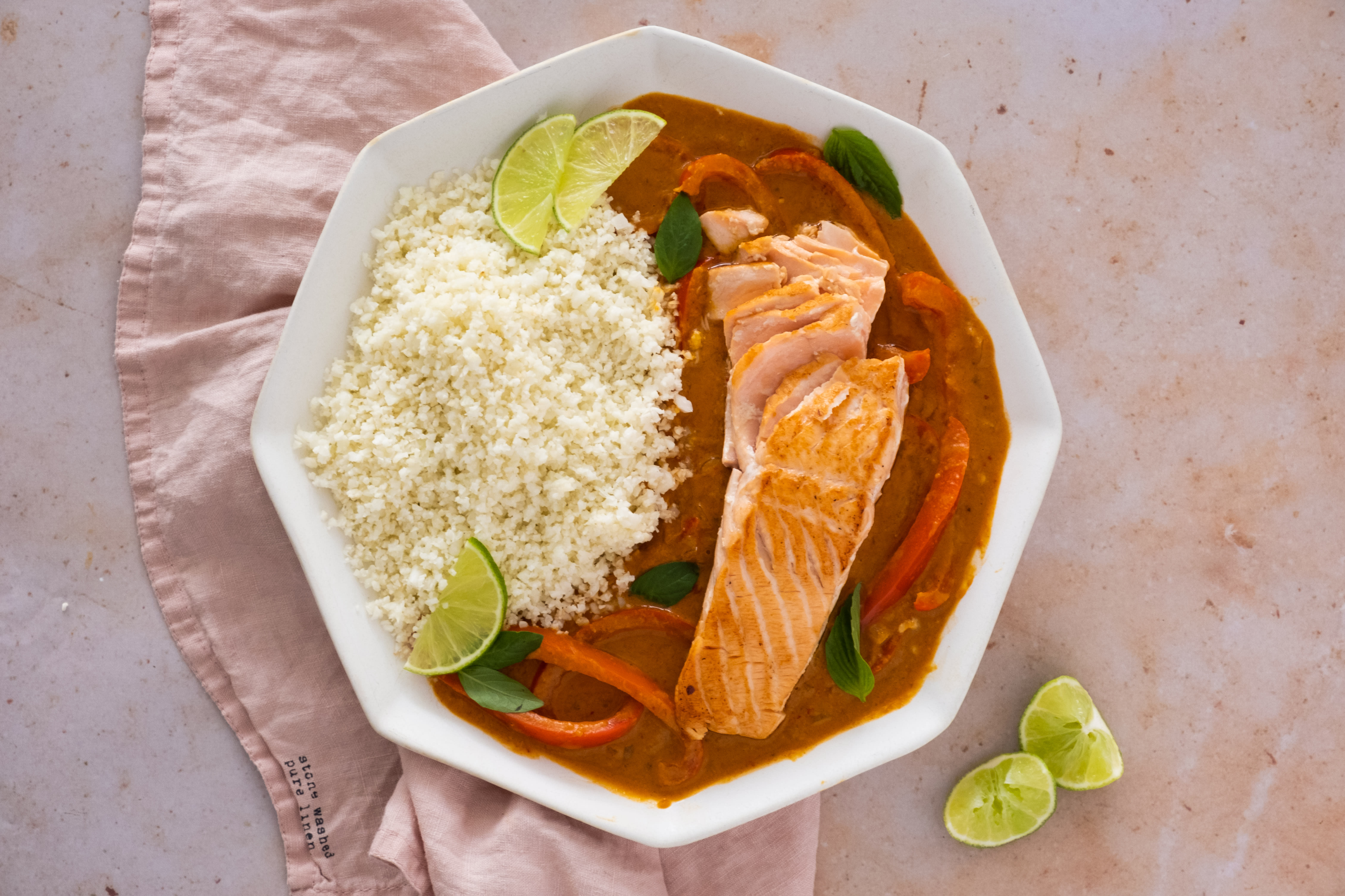 Thai Panang Curry with Salmon and Cauliflower Rice