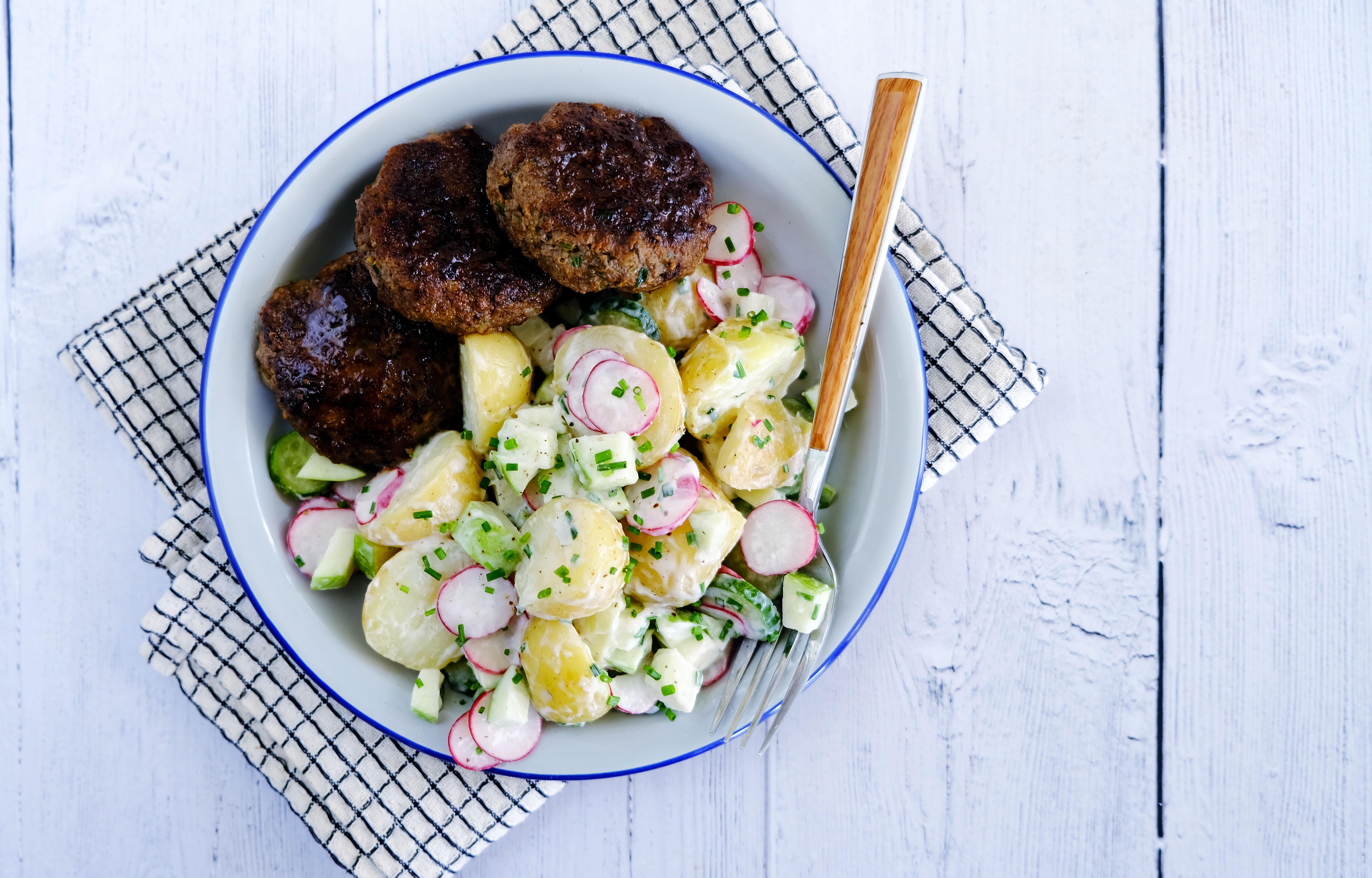German Beef Meatballs with Creamy Potato Salad