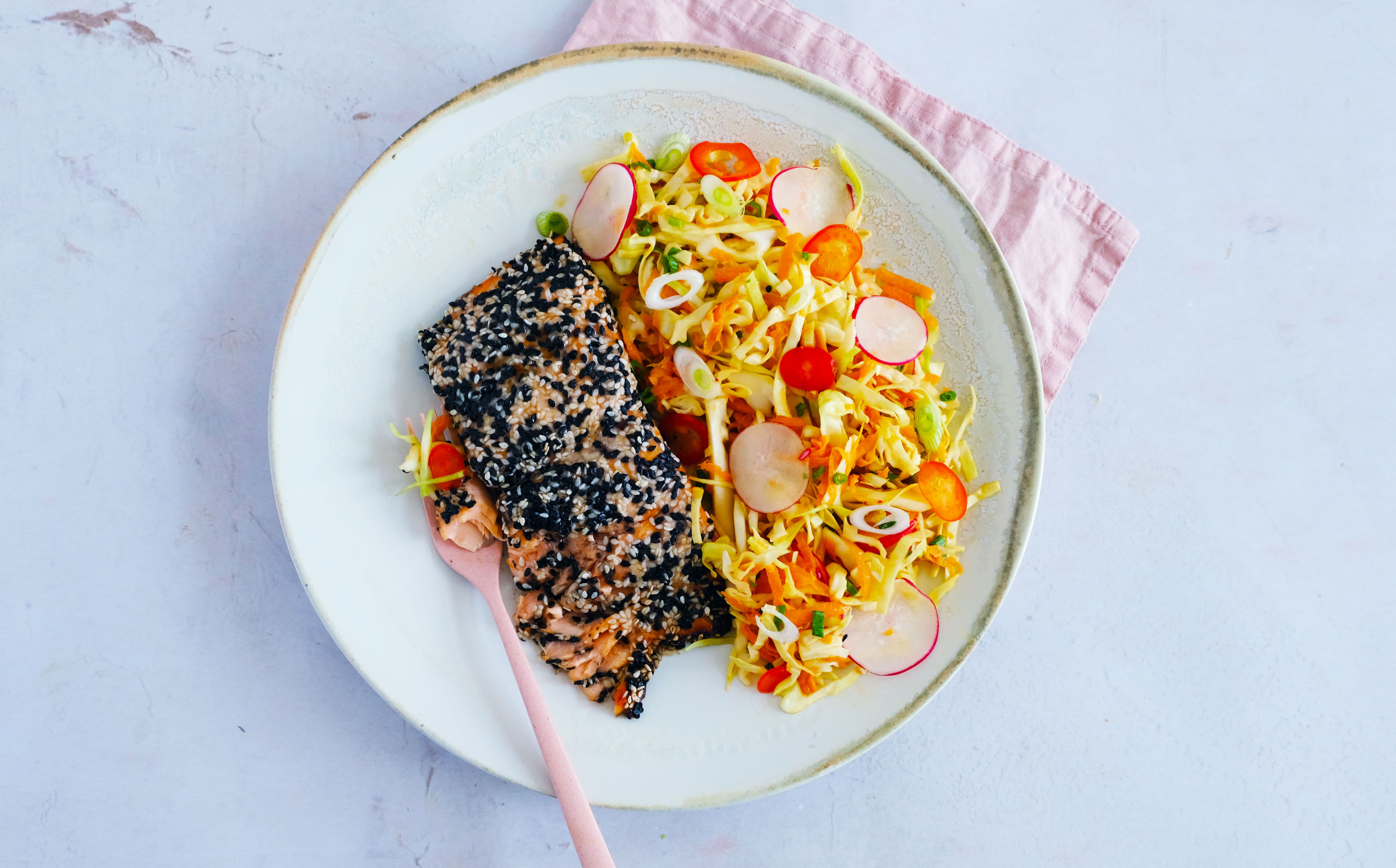 Sesame Crusted Salmon with Crunchy Slaw