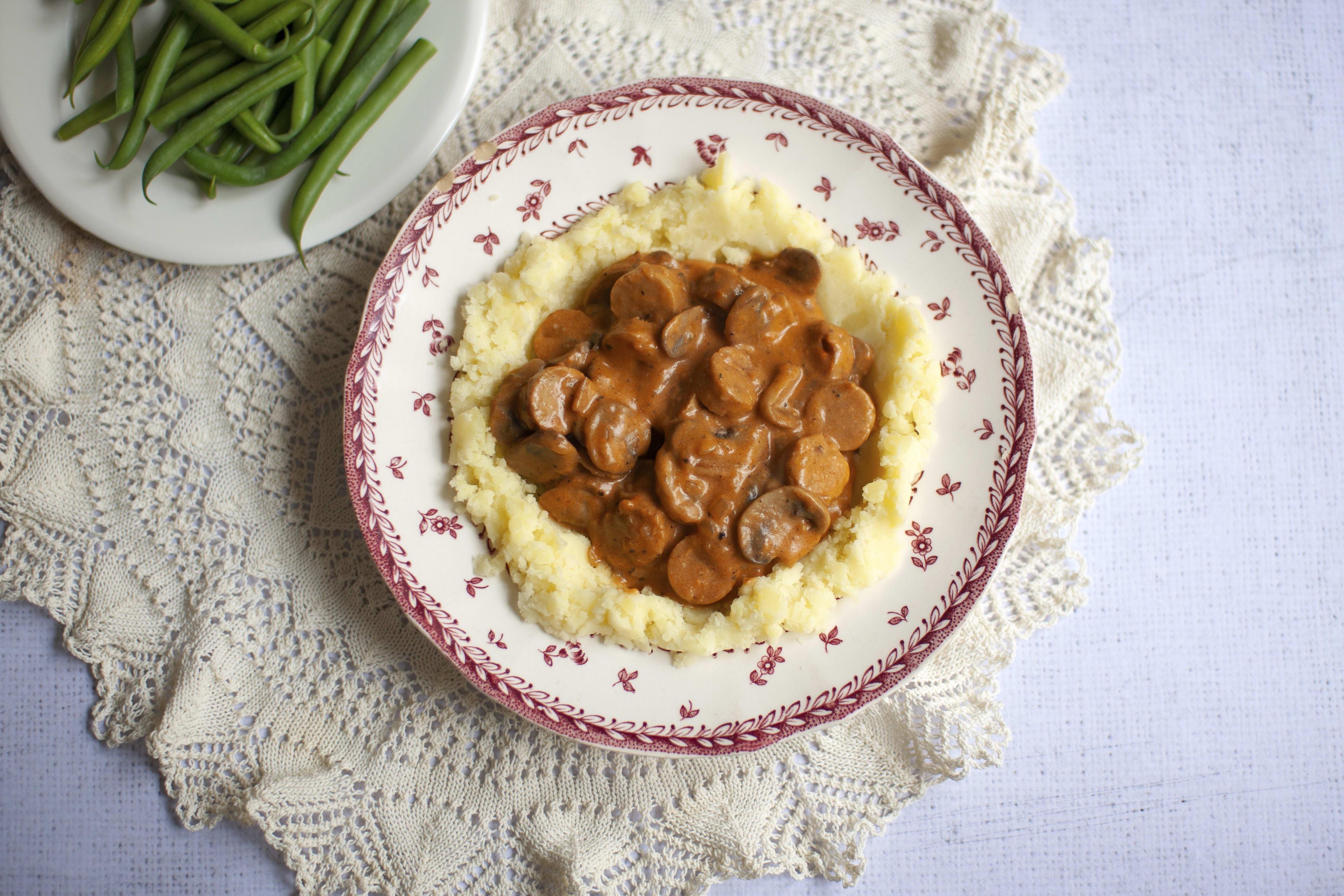 Vegan Sausage and Mushroom Stroganoff with Mash and Green Beans