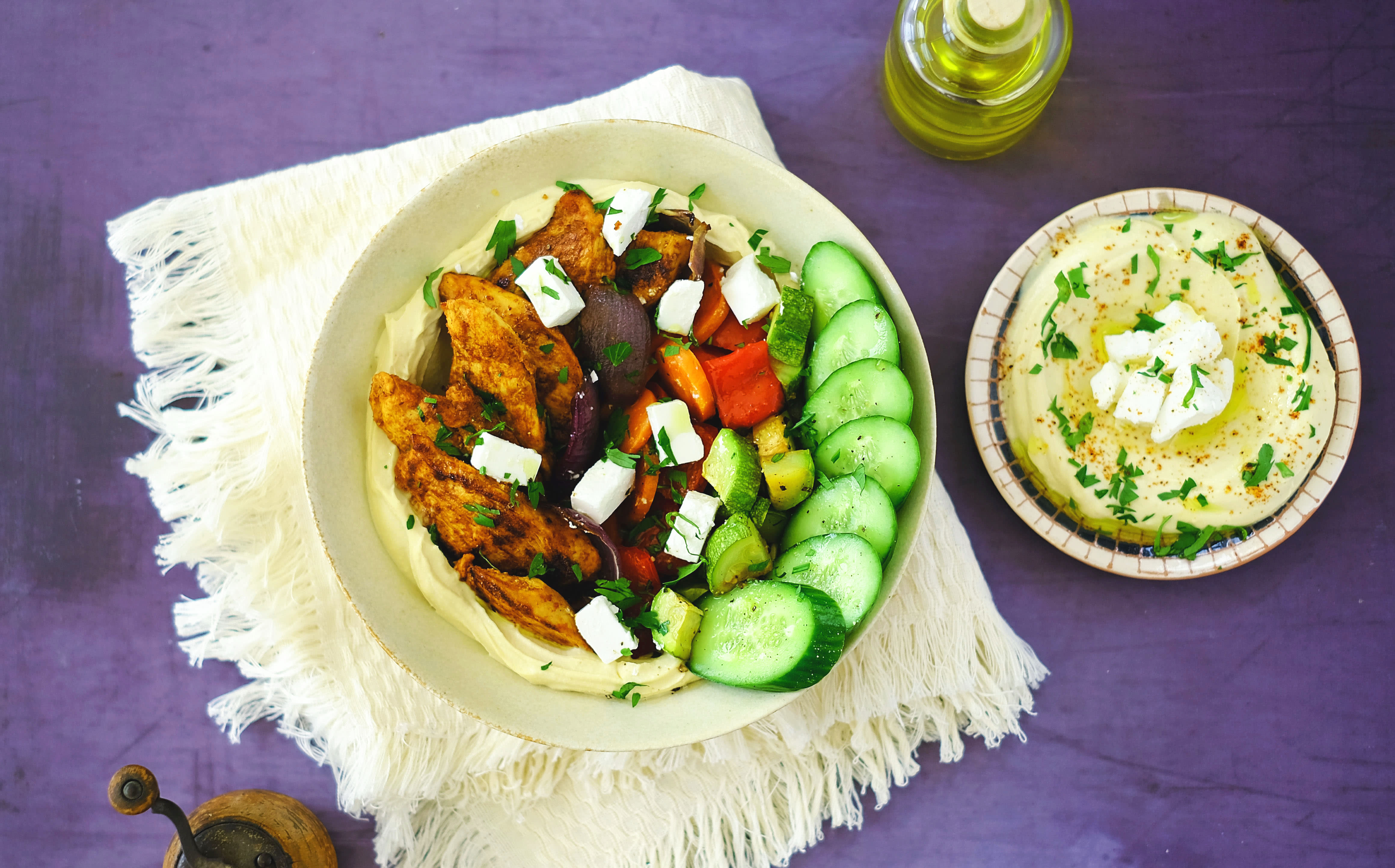 Roasted Vegetable and Chicken Shawarma Bowl with Hummus