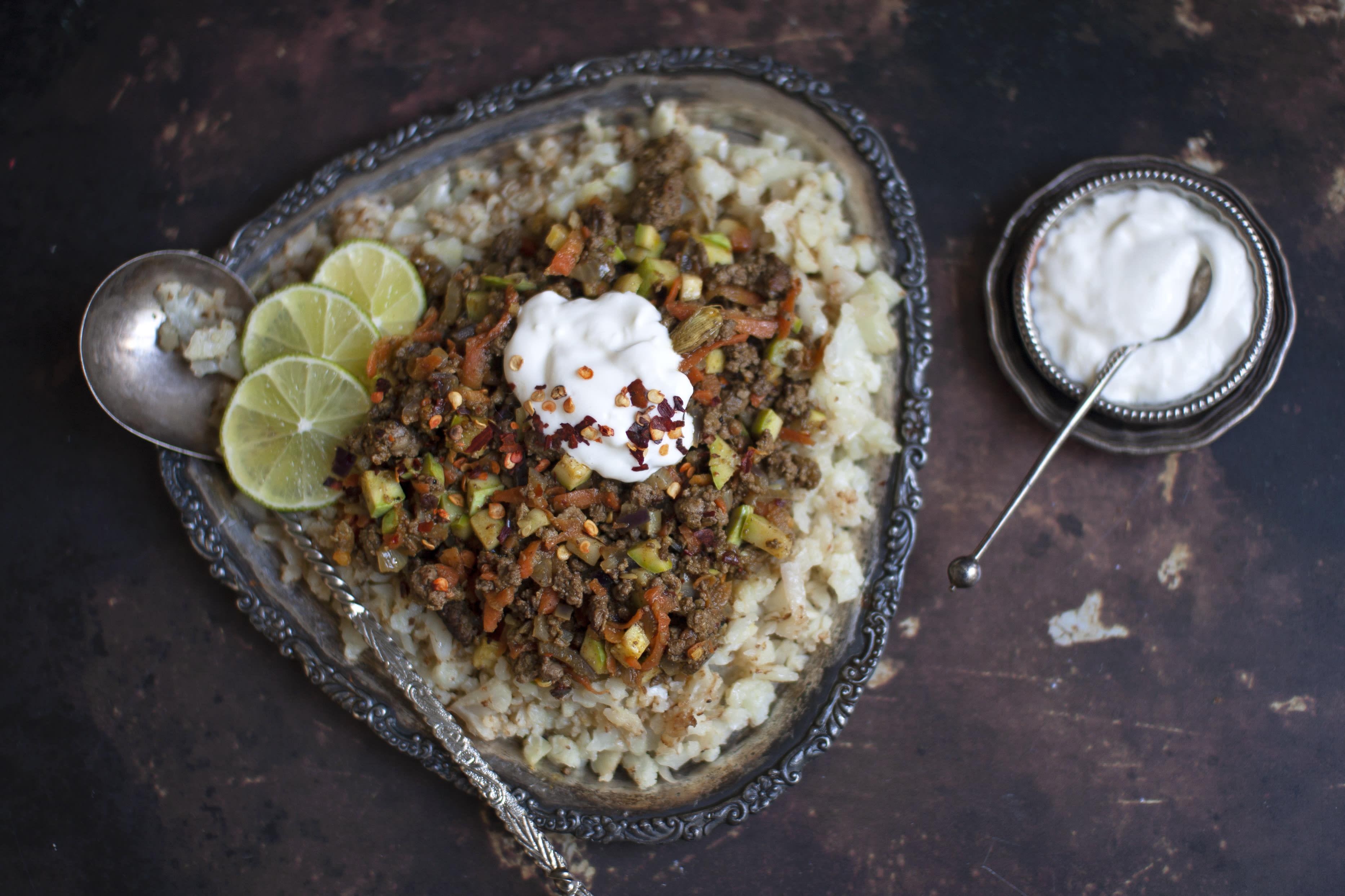 Spicy Indian Beef Mince Qeema with Cauliflower 'Rice'