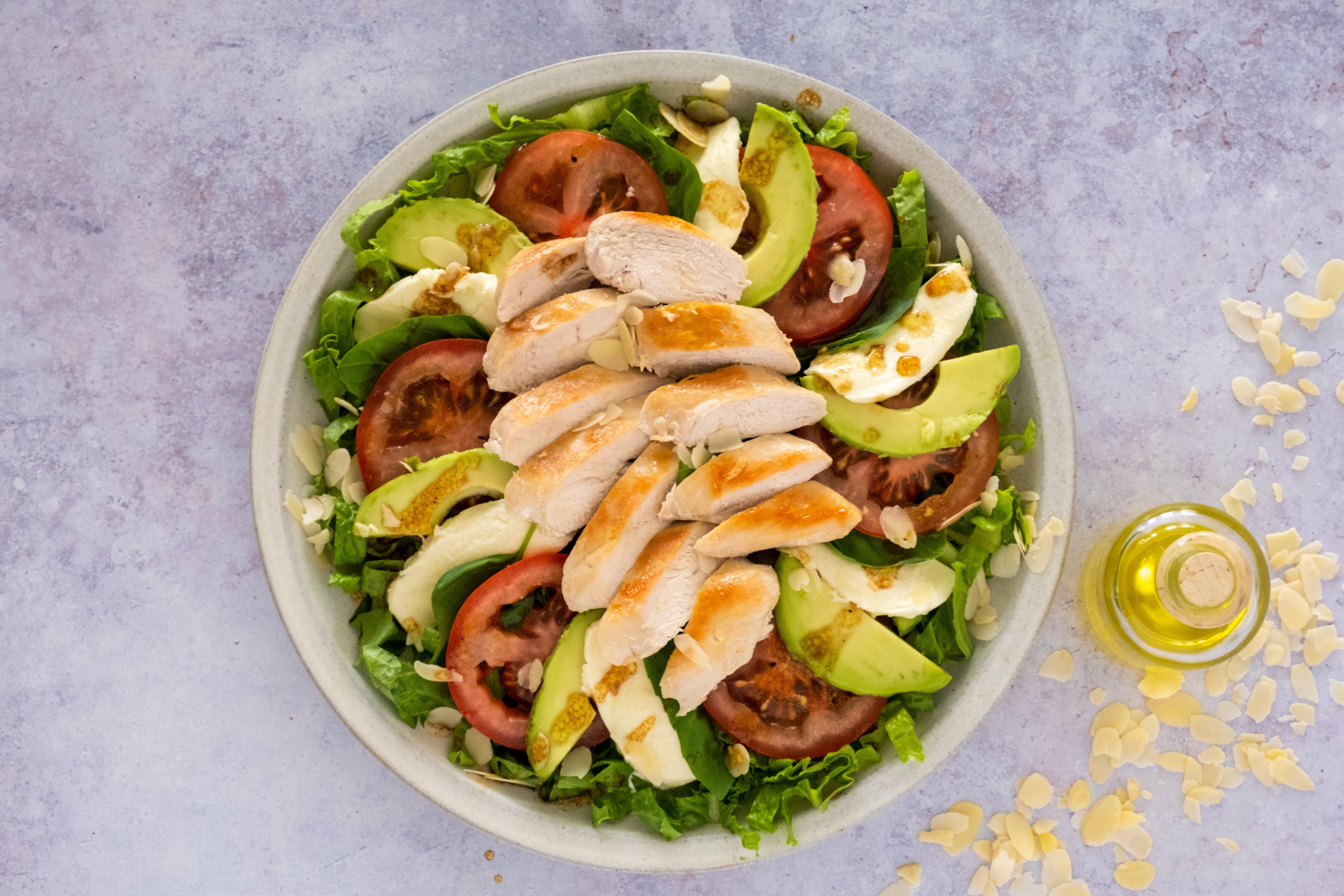 Chicken Tricolore Salad with Fresh Mozzarella, Avocado and Tomato