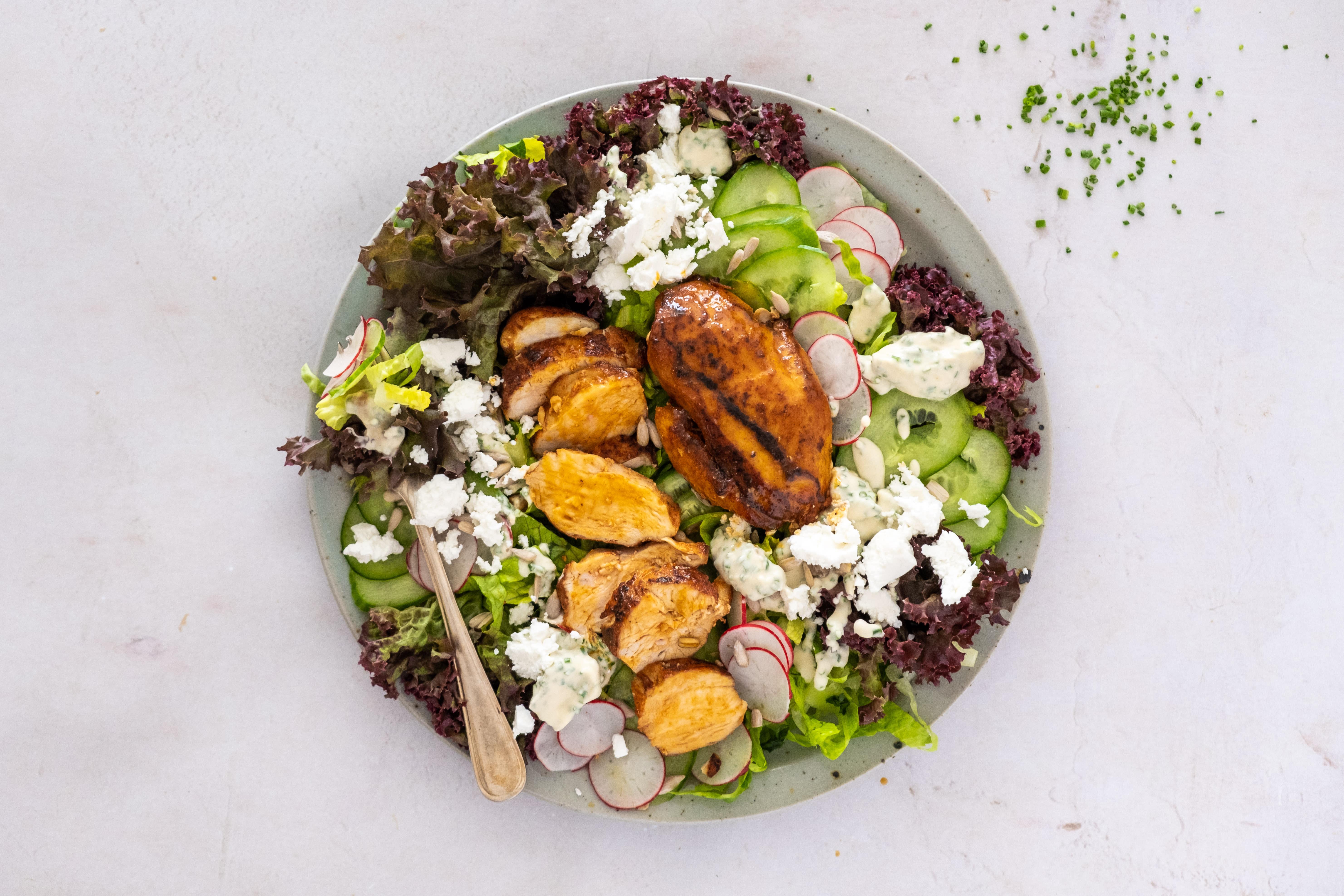 Crunchy Garden Salad with Smoky Chicken