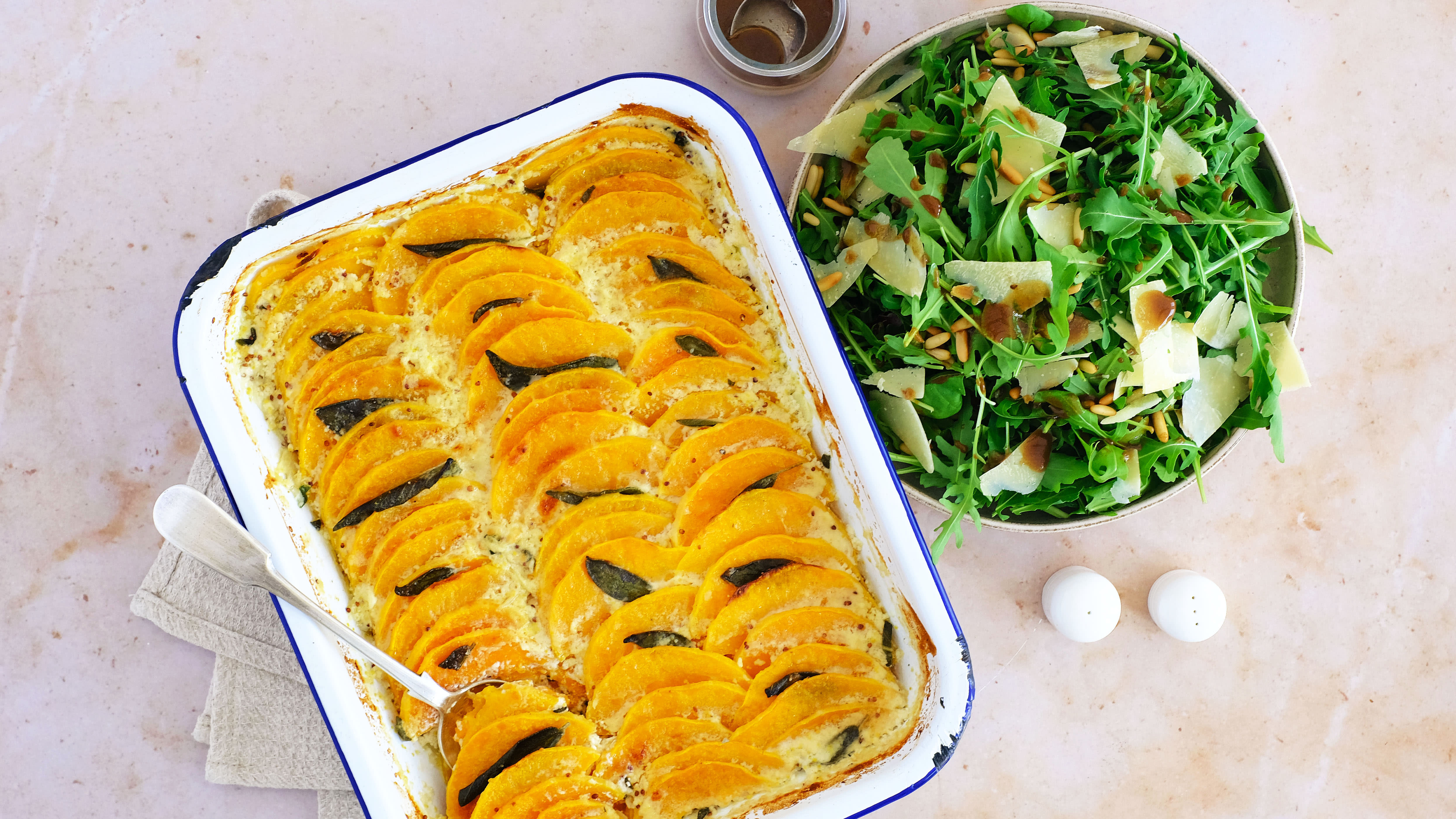 Autumnal Squash, Mustard and Sage Gratin with Side Salad