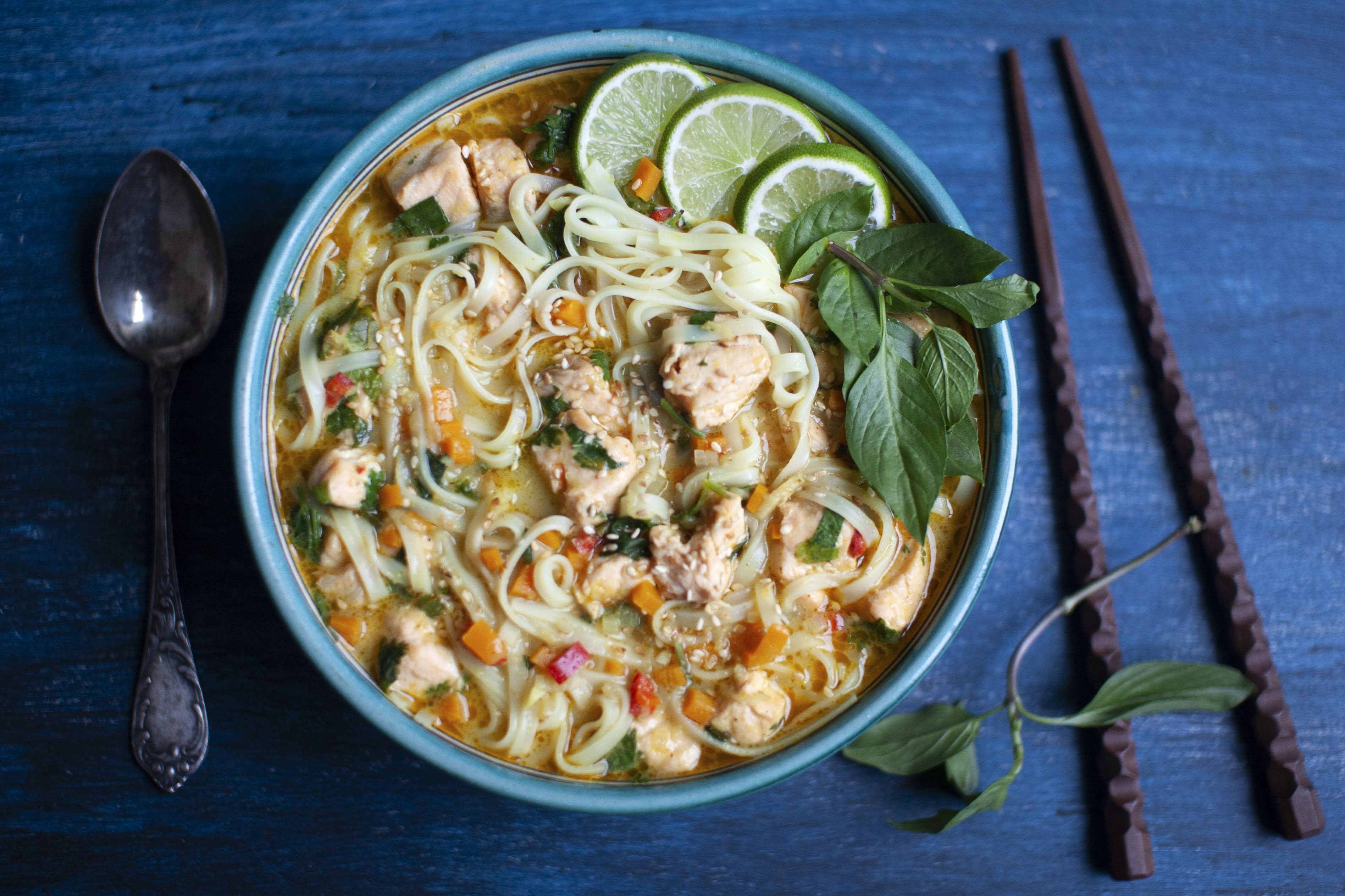 Thai Yellow Curry Salmon and Noodle Soup