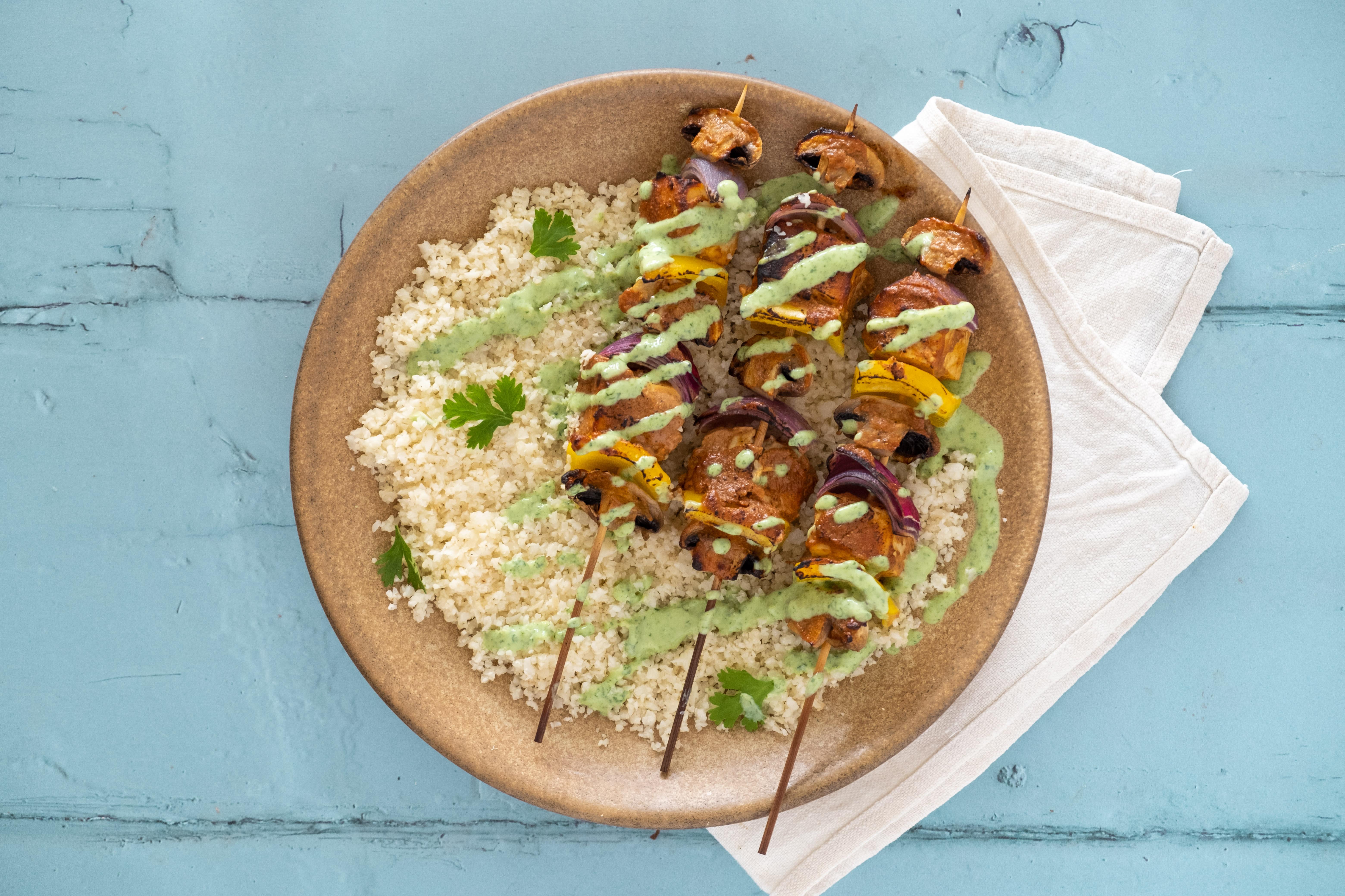Paneer Tikka Kebabs with Cauliflower Rice and Mint Chutney