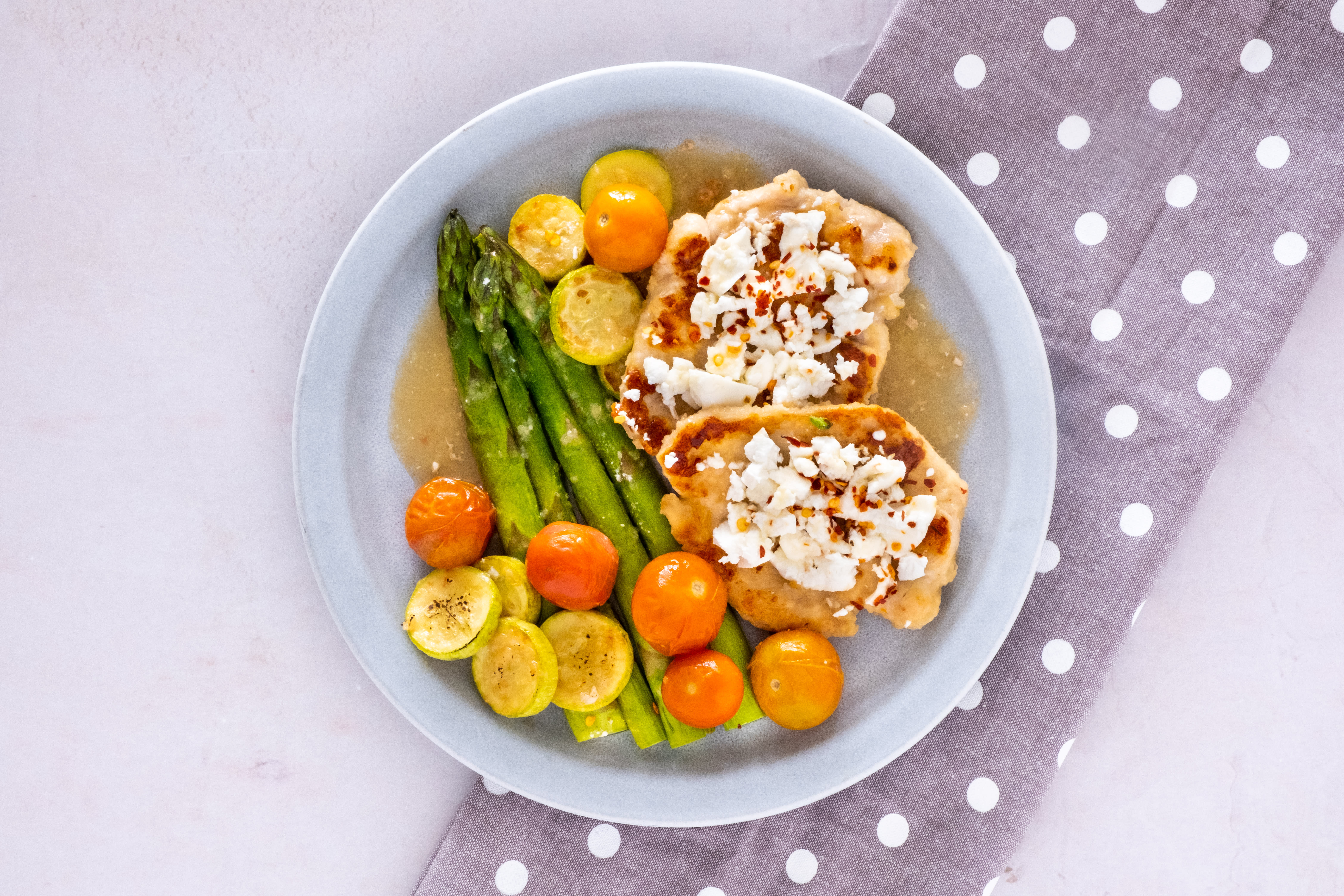 Feta and Chicken One-Pan with Cherry Tomatoes and Asparagus
