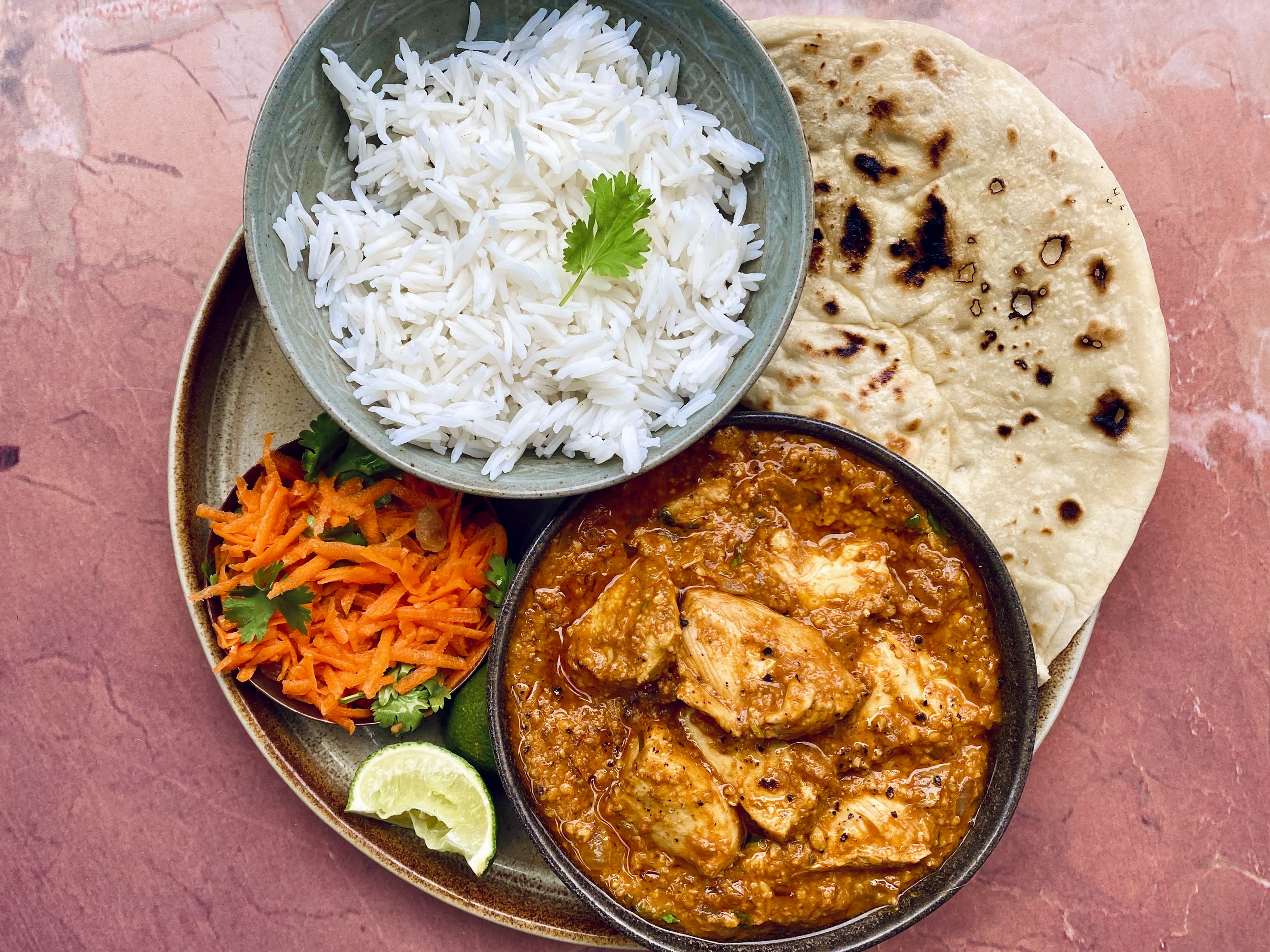 Mild Chicken Cashew Curry with Naan and Carrot Salad