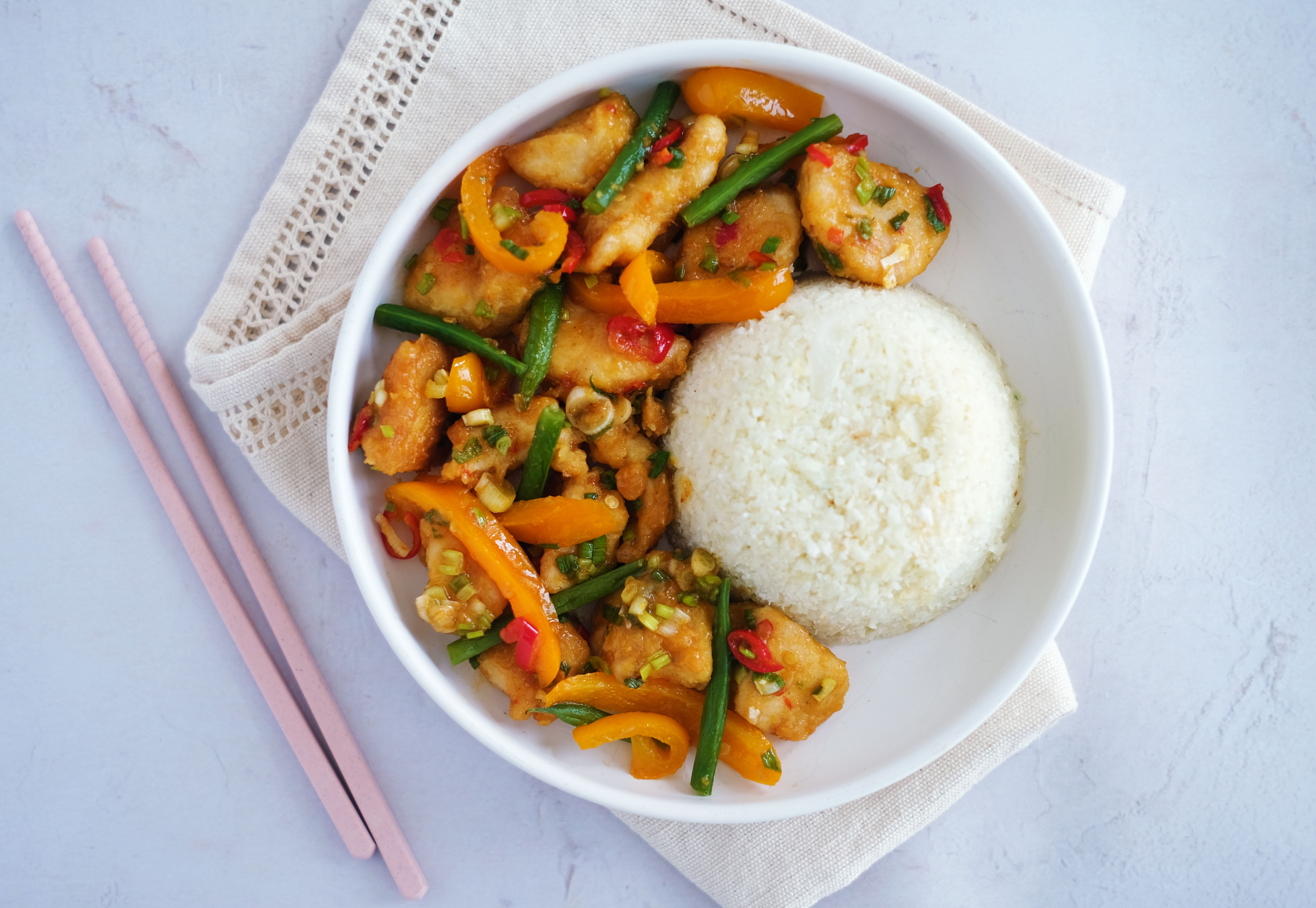 Chilli Chicken with Cauliflower Fried Rice