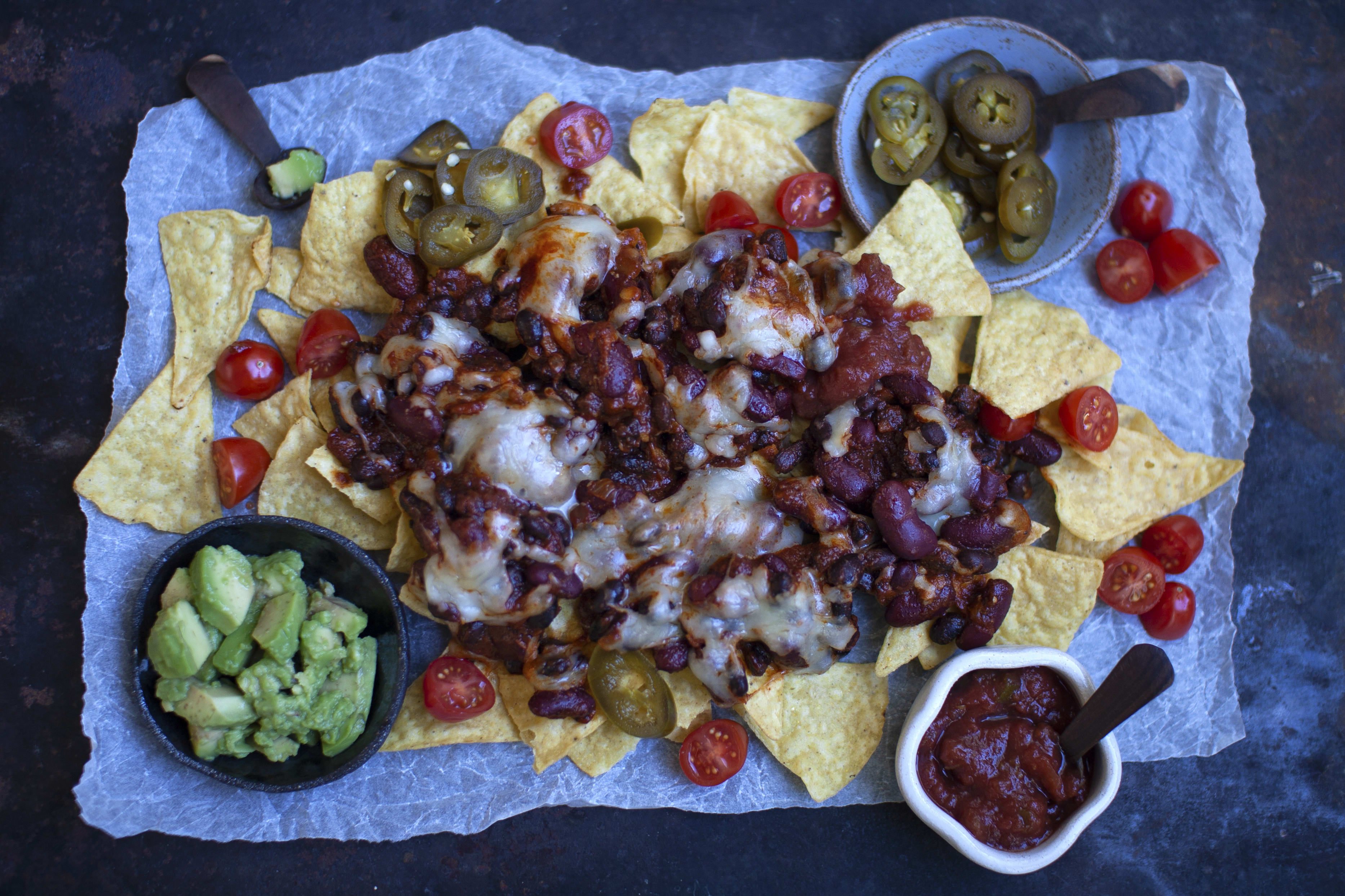 Loaded Nachos with Beans, Cheese and Avocado