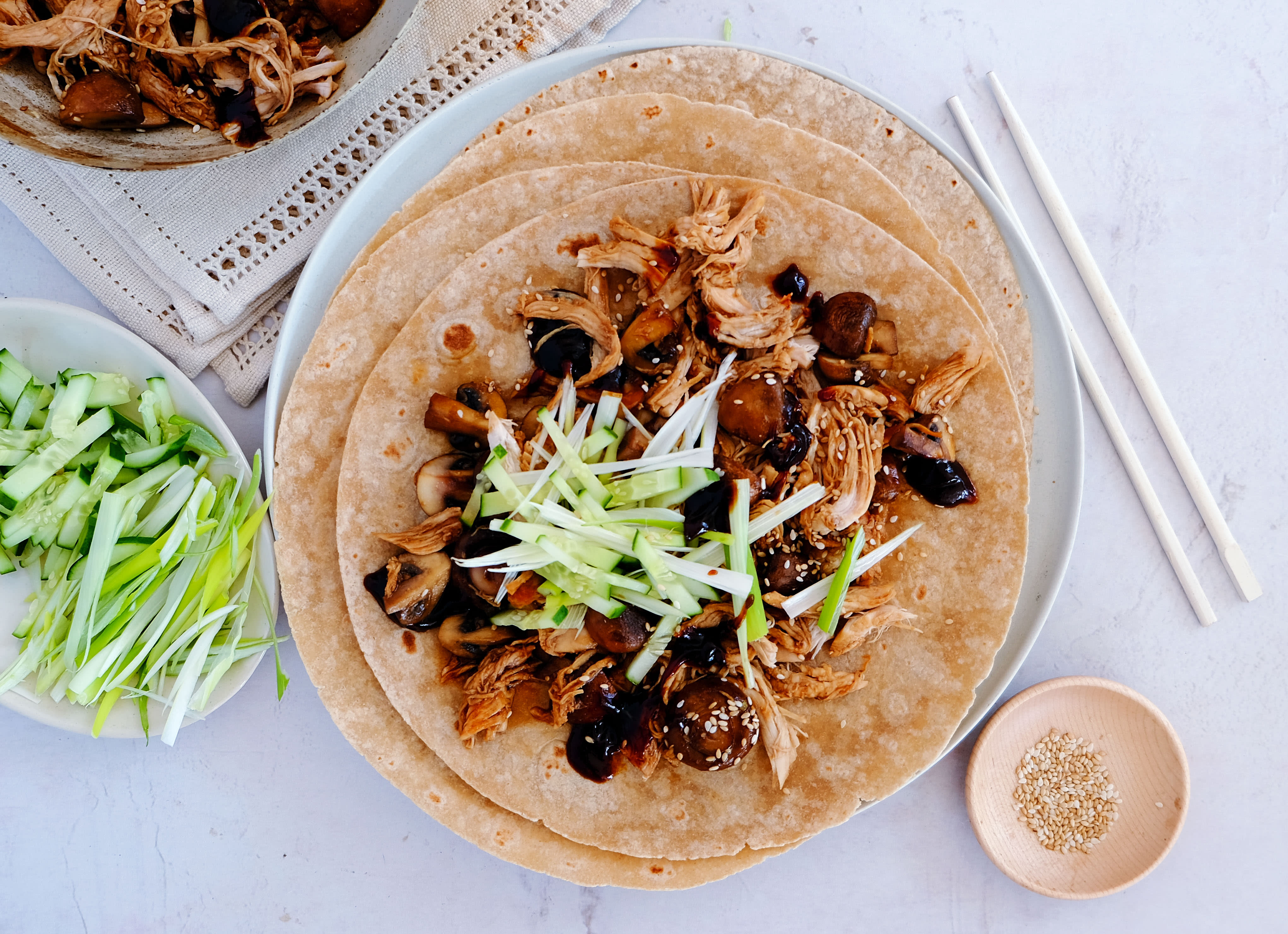 Hoisin Chicken and Mushroom Wraps with Cucumber and Spring Onion