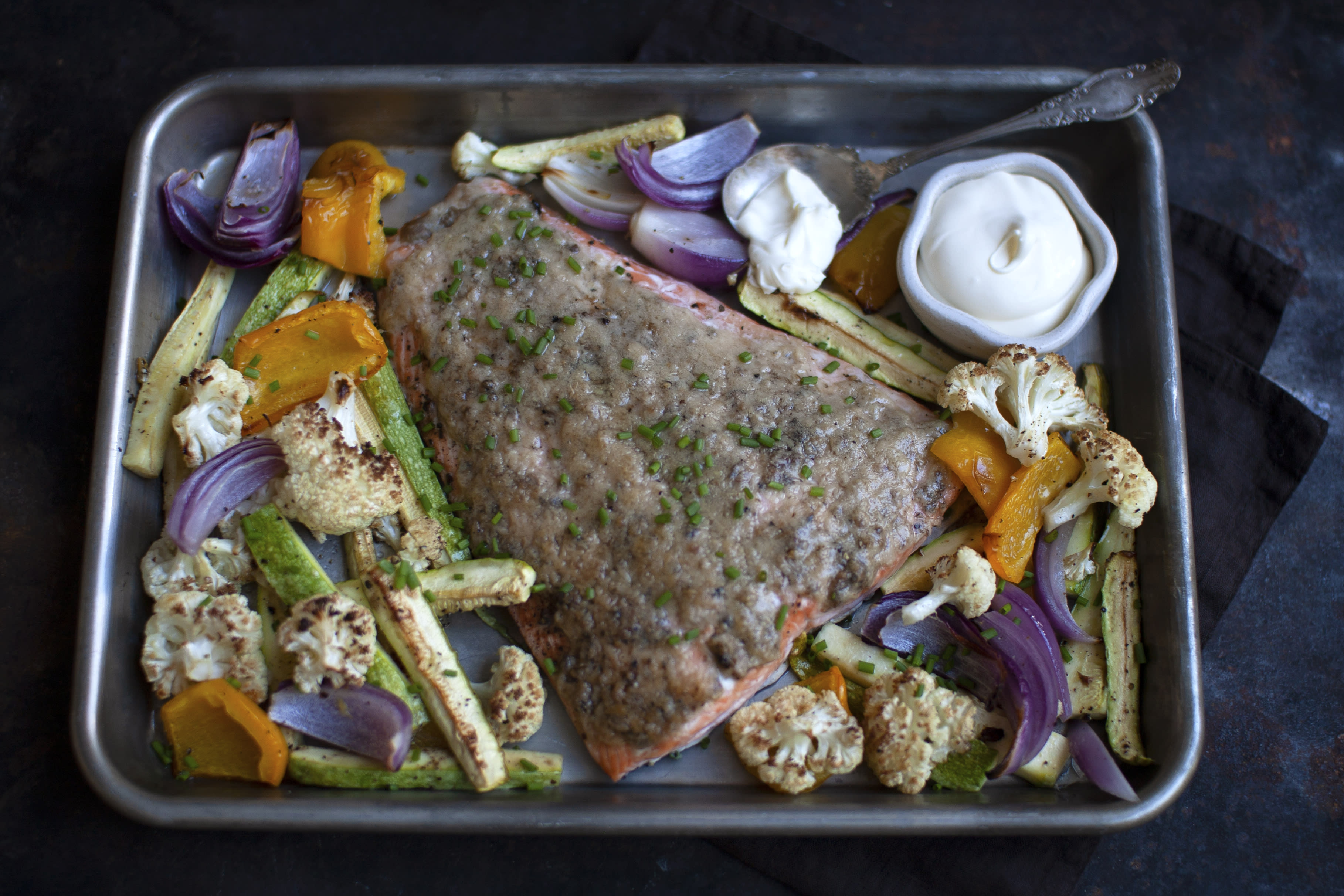 Parmesan and Anchovy Salmon with Roasted Vegetables