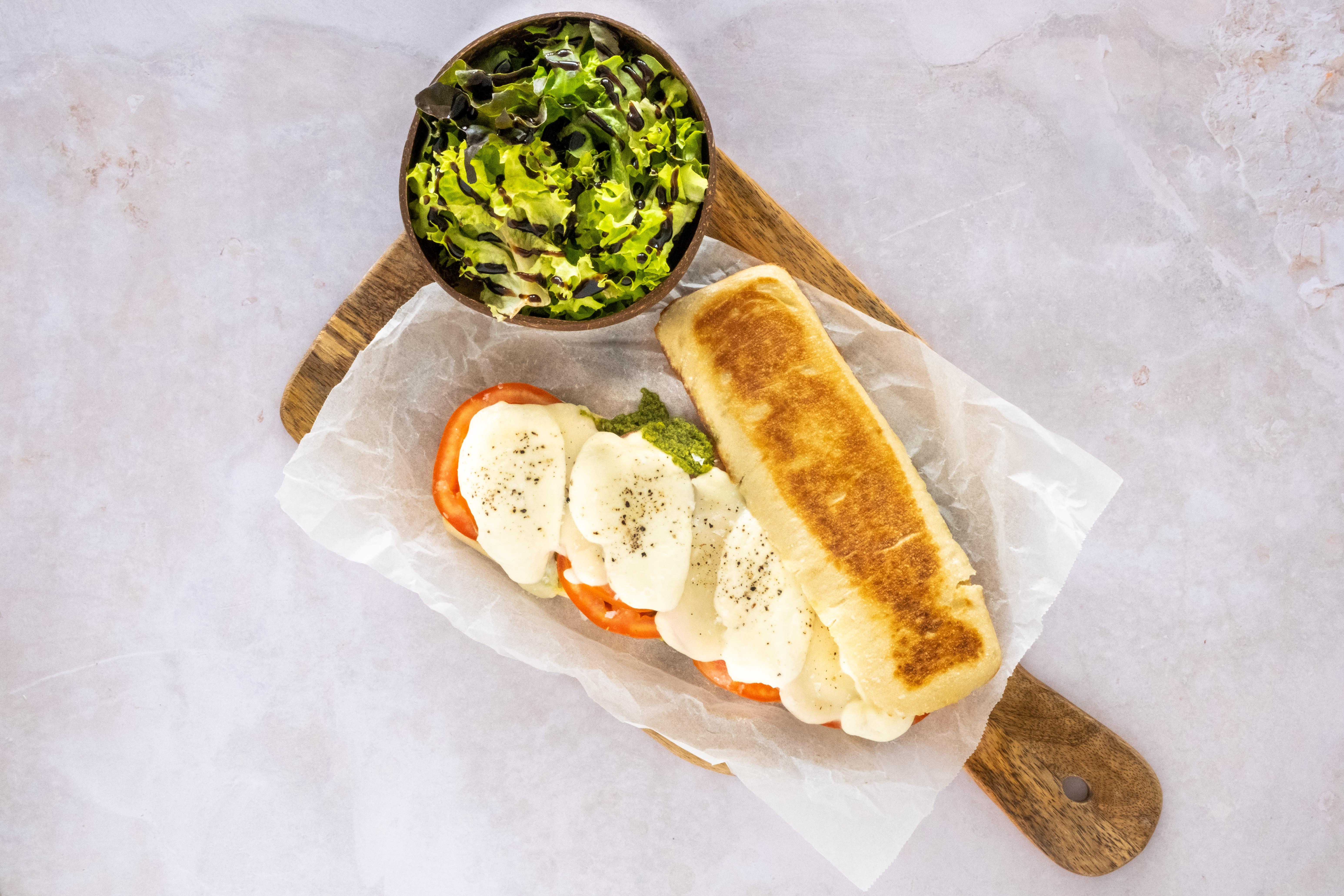 Caprese Panini Sandwich with Lollo Salad
