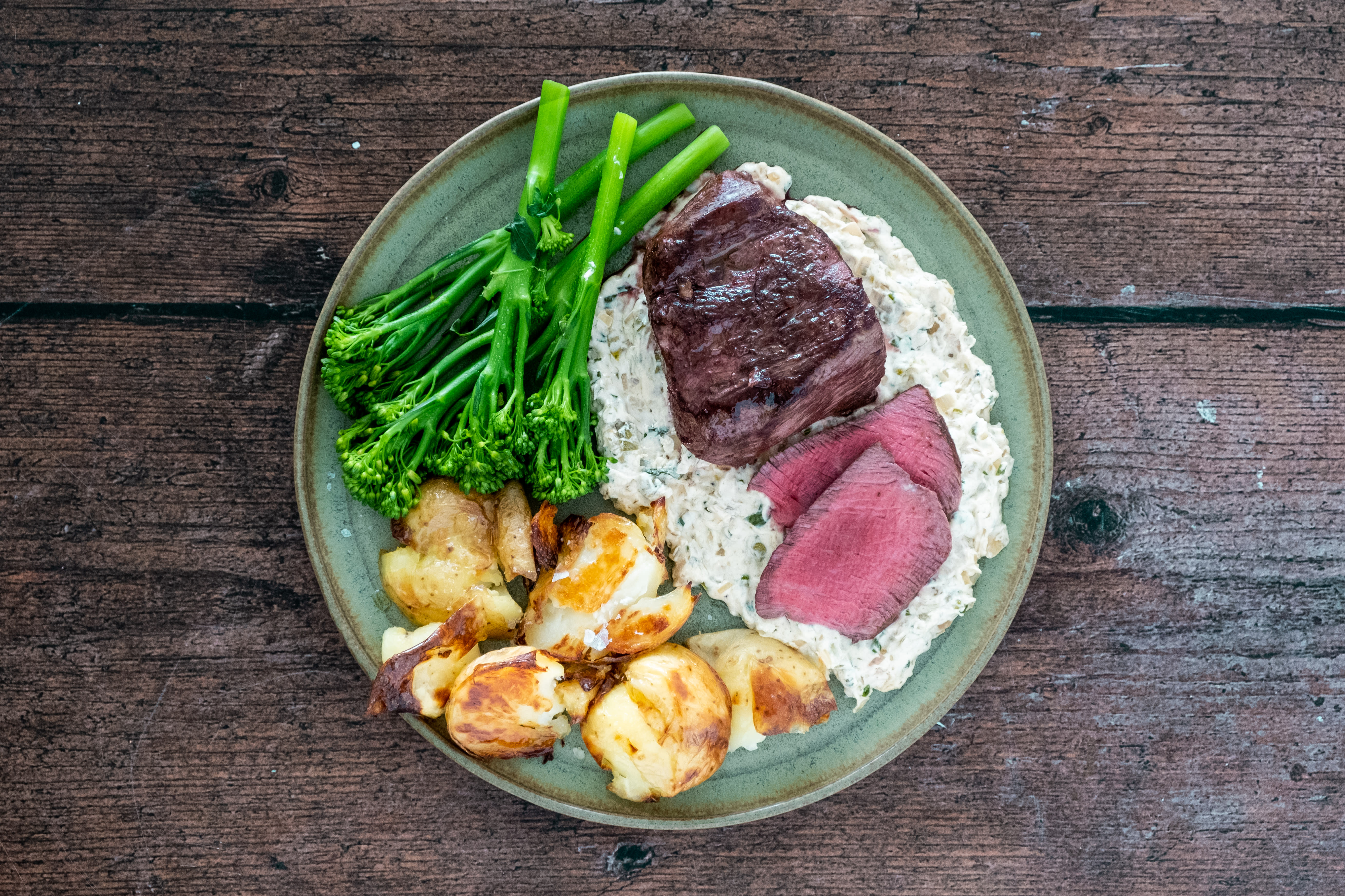 9 oz Fillet Steaks with Crispy Crushed Potatoes and Dijonnaise