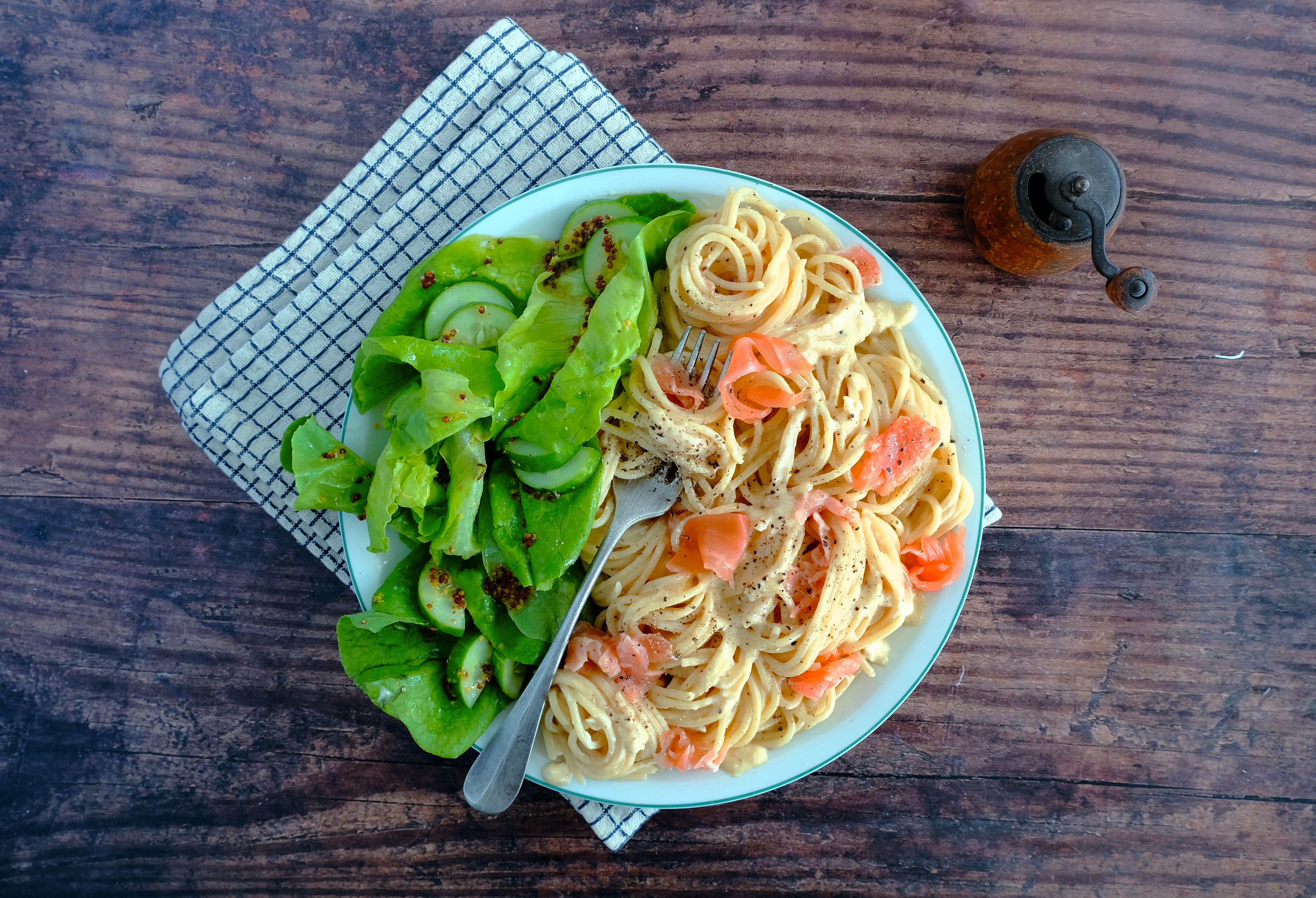 Smoked Salmon Carbonara with Green Salad