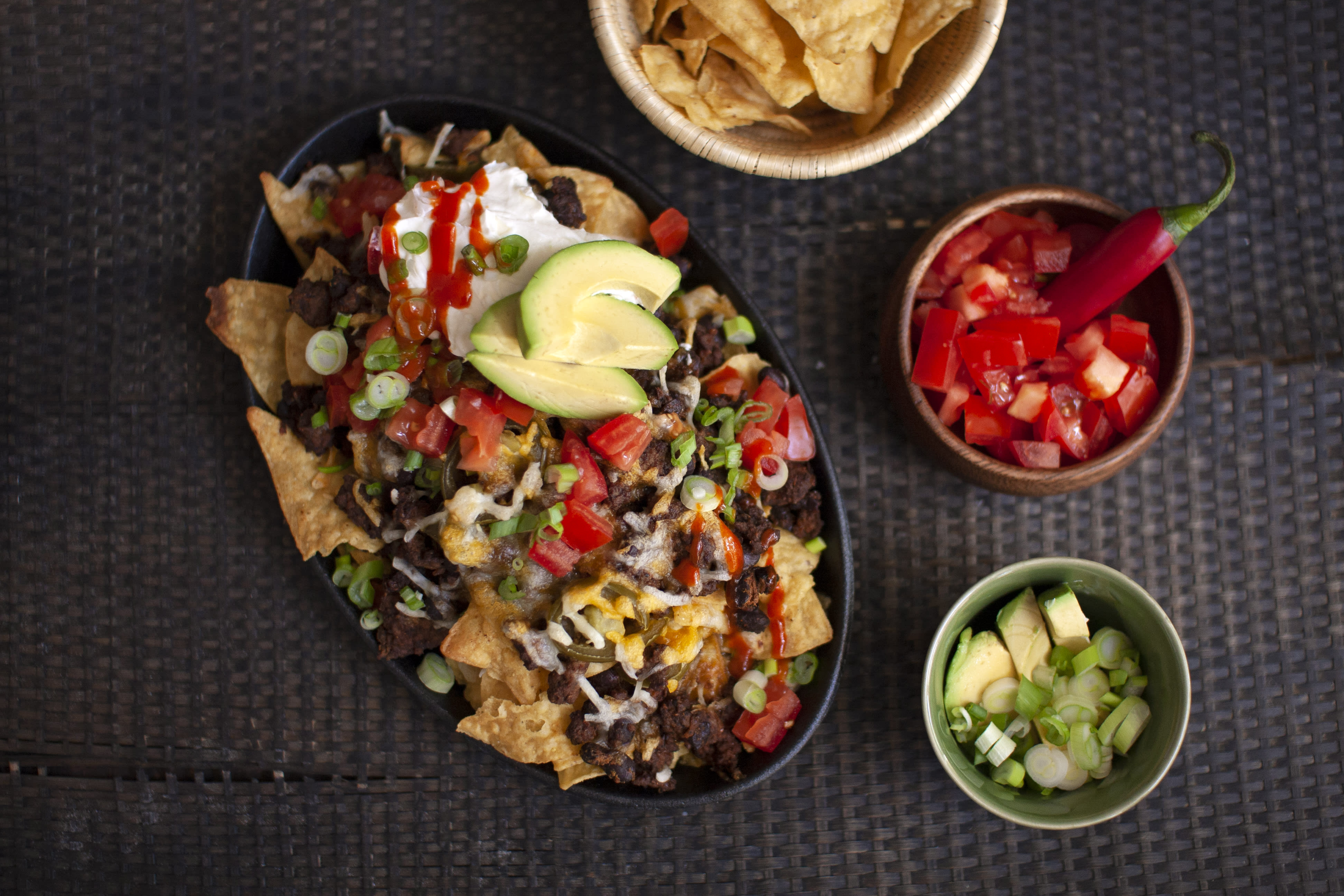 Loaded Beef Nachos with Jalapeno and Sour Cream