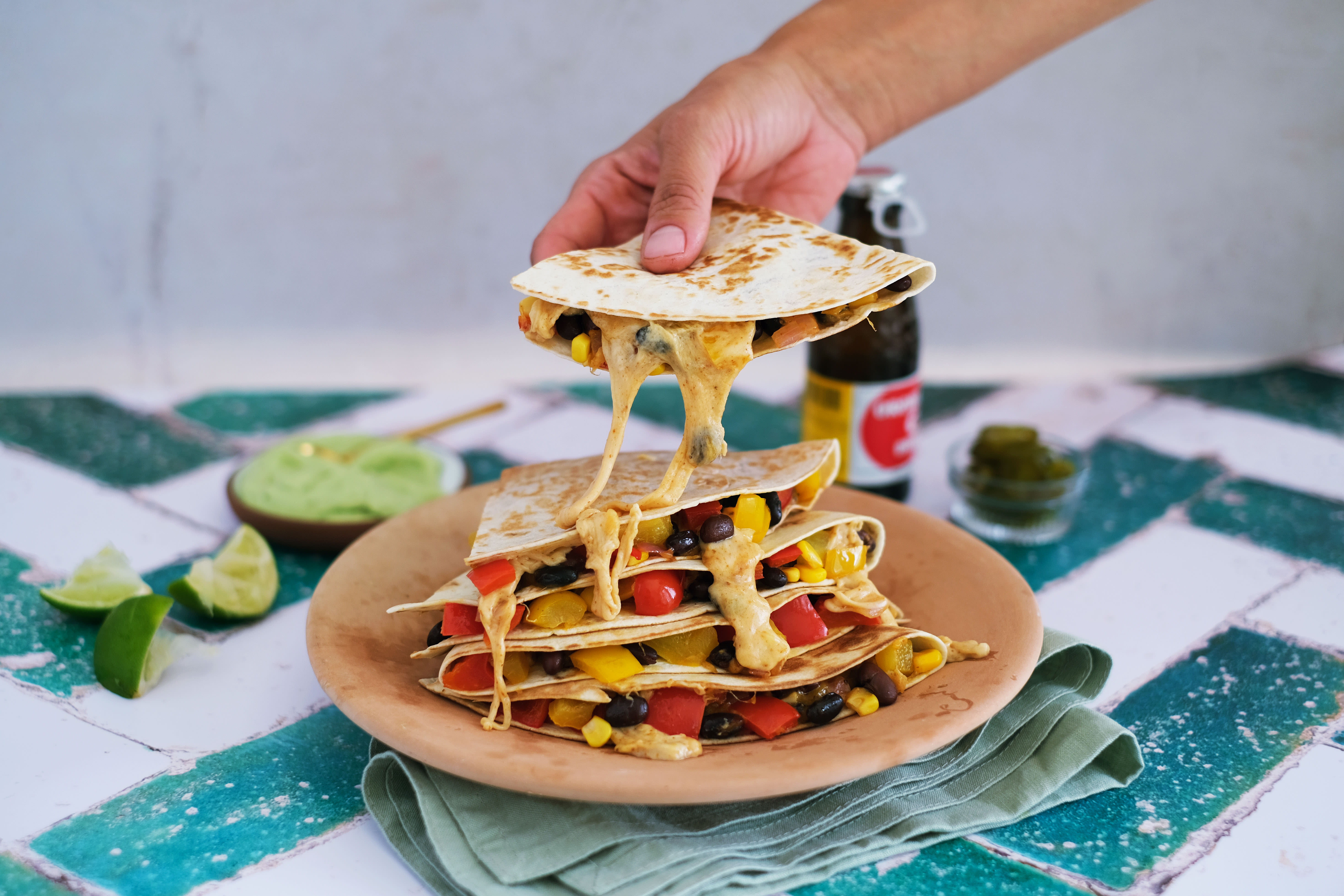 Cheesy Veggie Filled Quesadillas with Avo Lime Crema