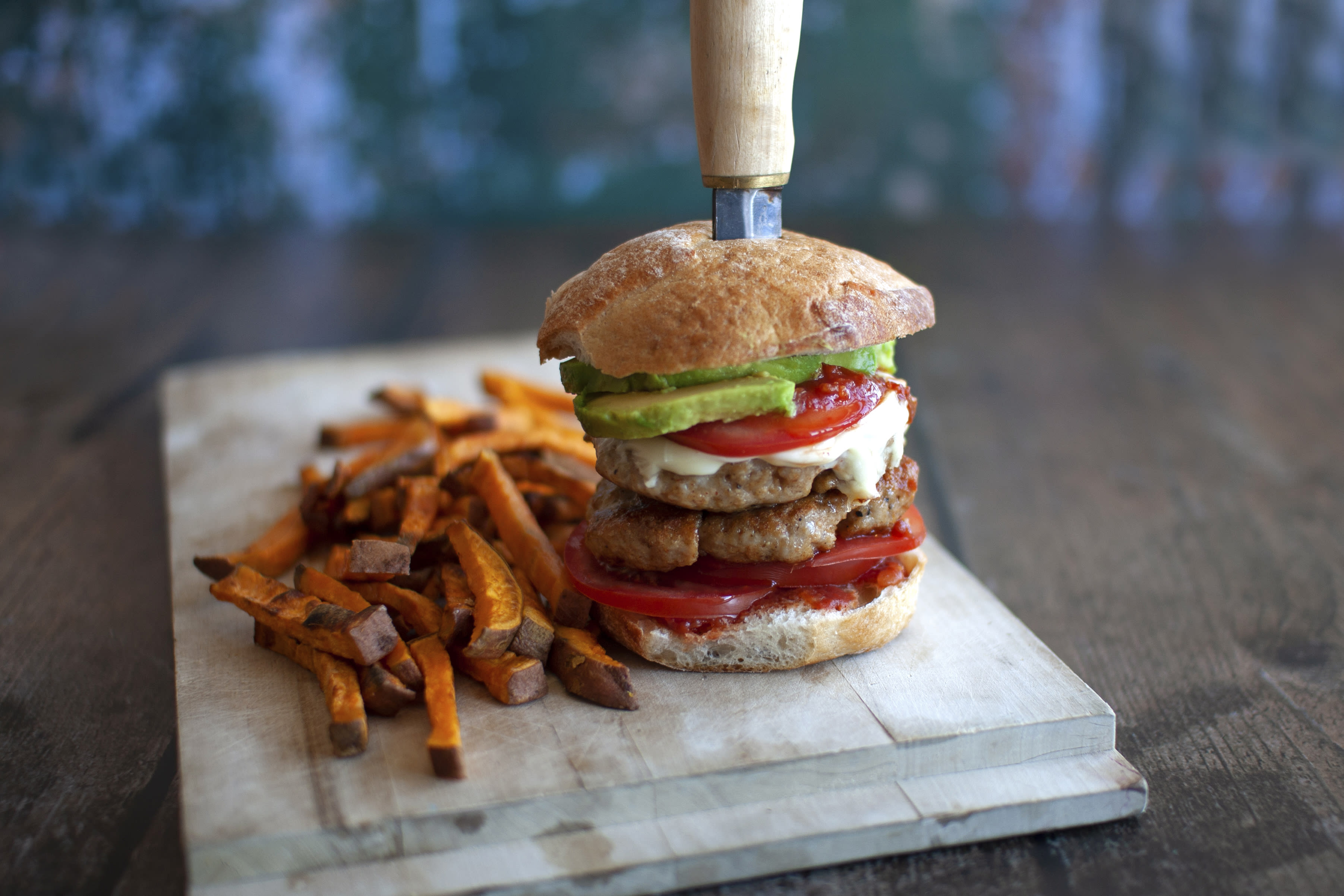 Mexican Chicken Cheese Burger with Sweet Potato Fries
