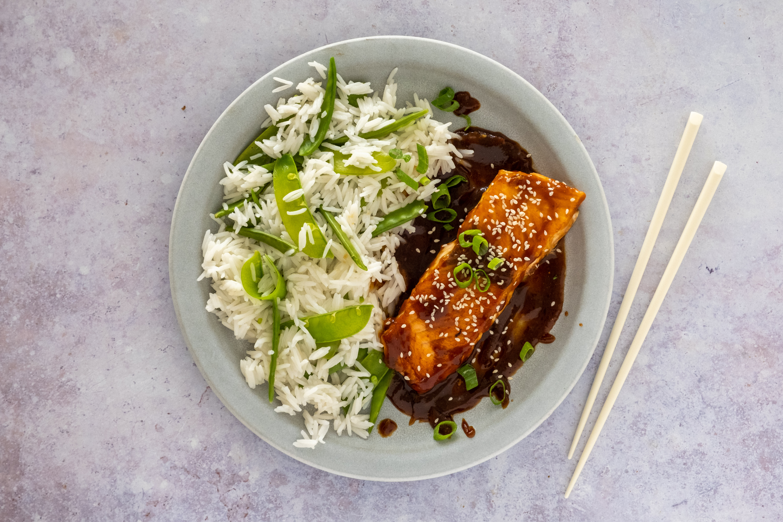 Salmon Teriyaki with Snow Pea Rice