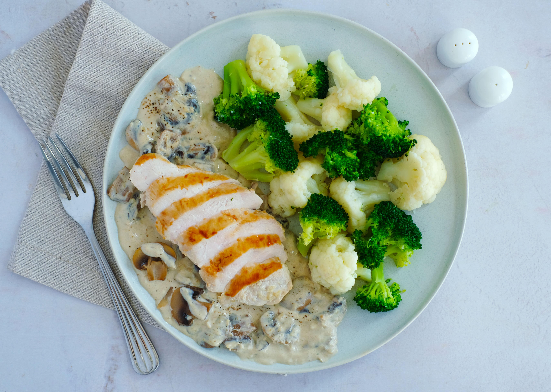 Chicken in Creamy Garlic Mushroom Sauce with Broccoli and Cauliflower