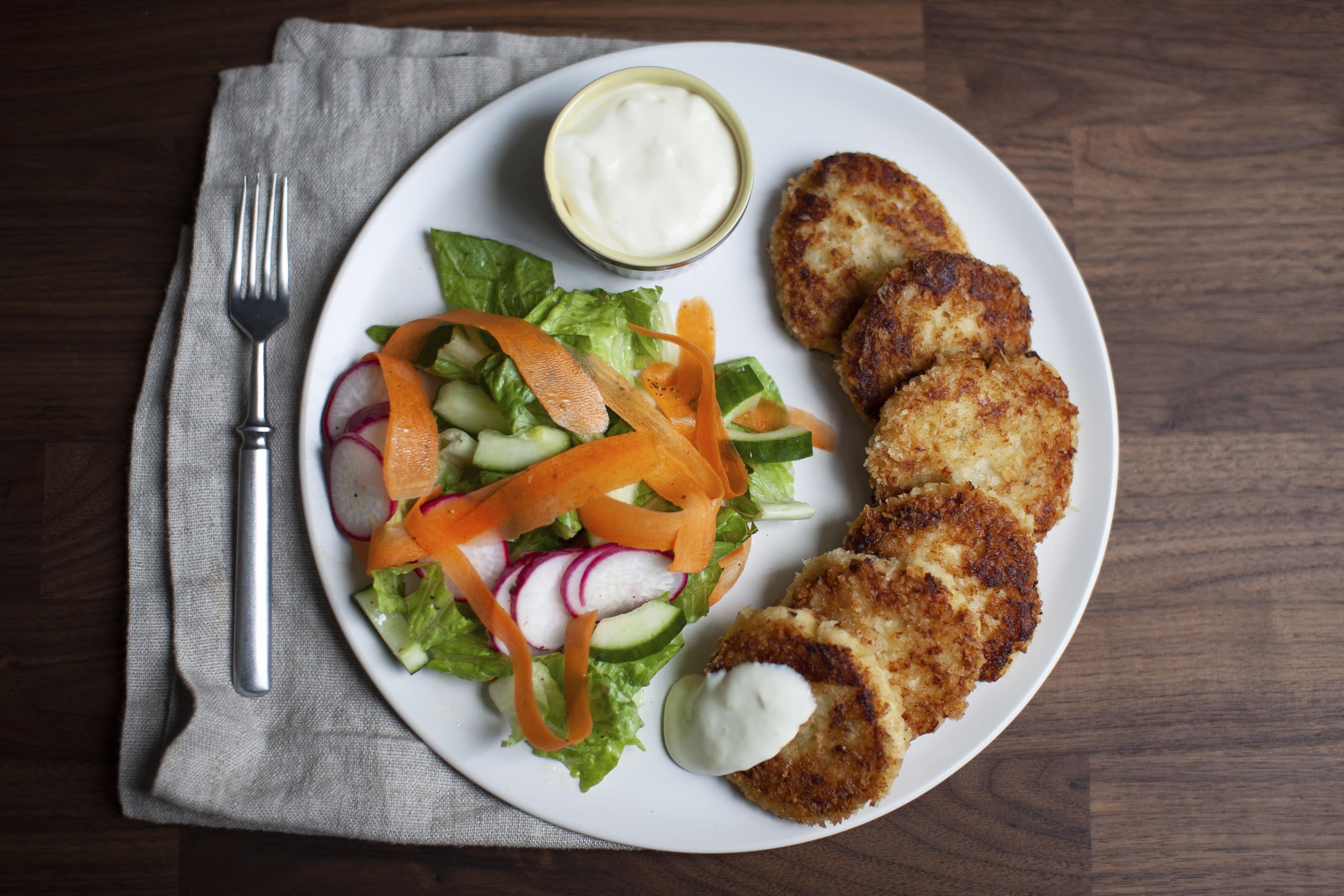 Cod and Potato Cakes with Lemon Mayo and Crunchy Salad