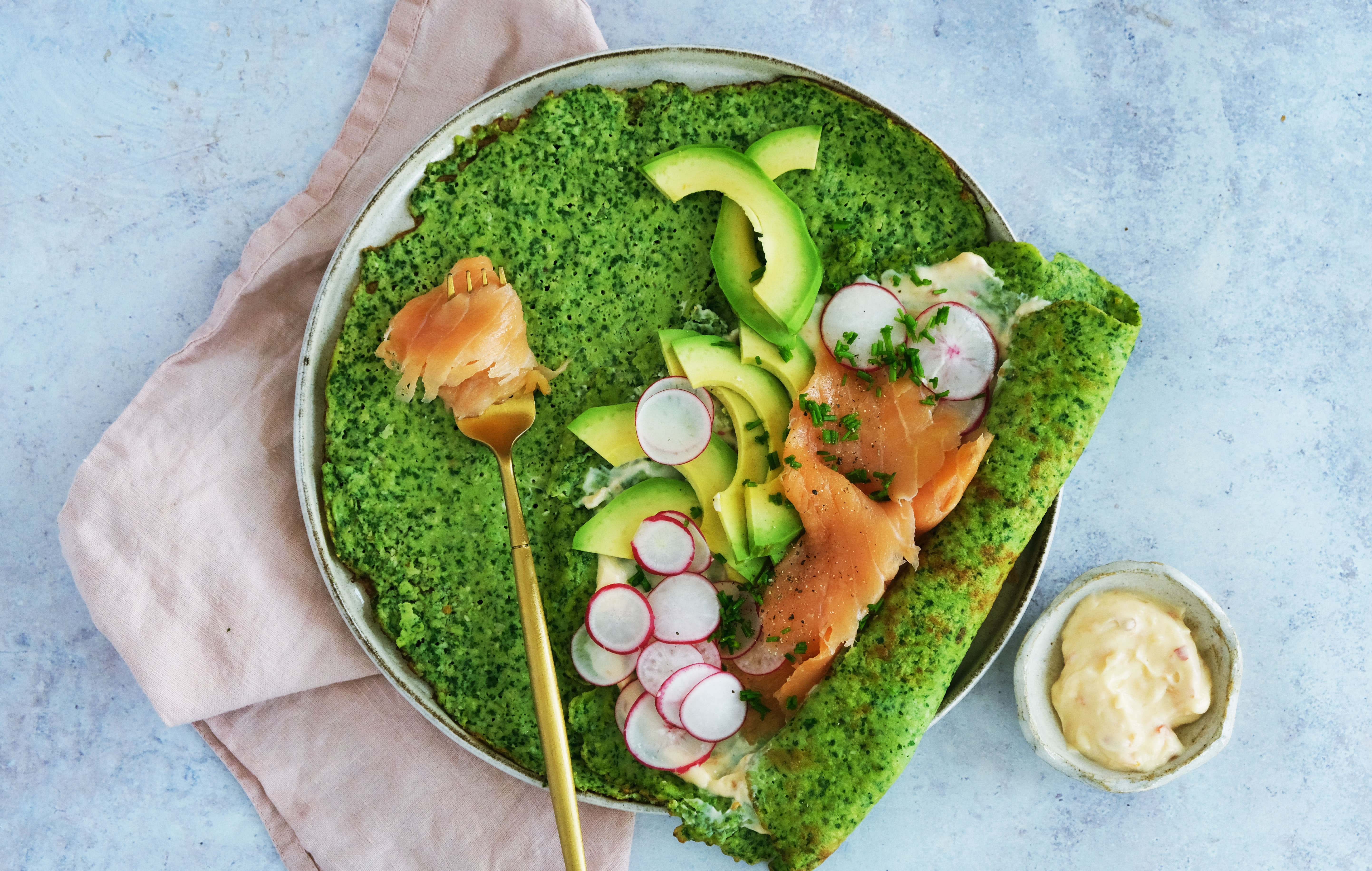 Green Savoury Crepes with Smoked Salmon and Spinach