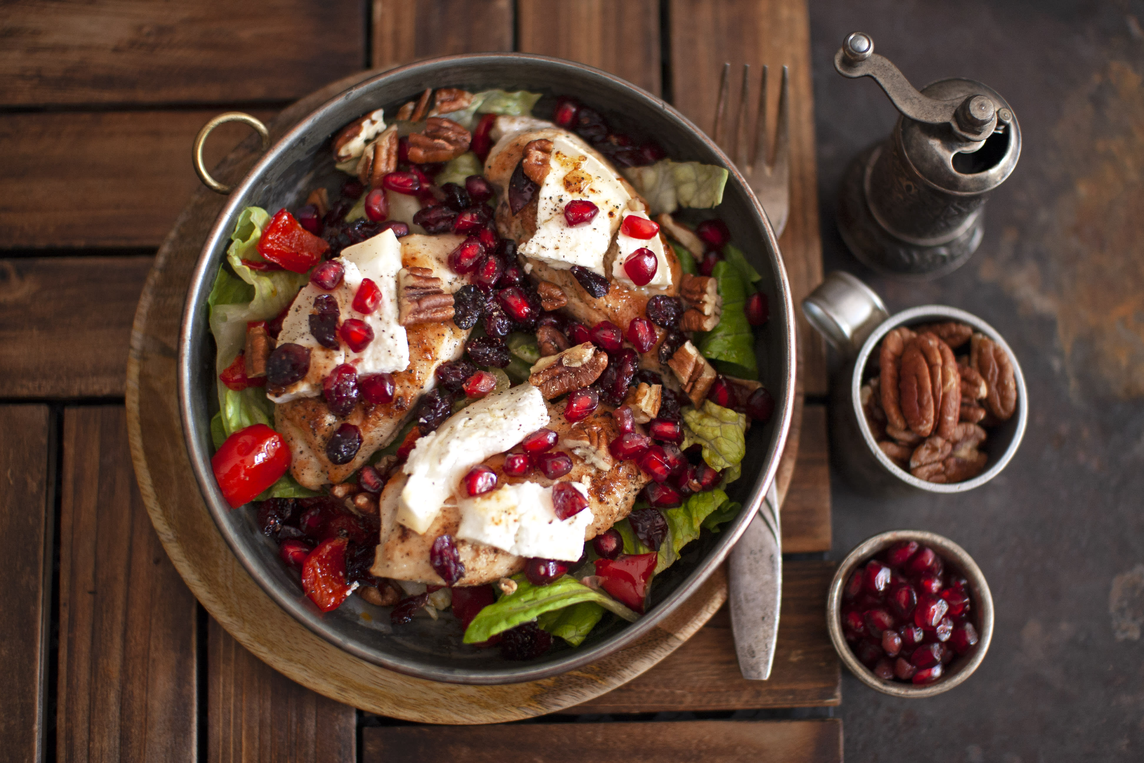 Chicken and Goat Cheese Salad with Cranberries, Roasted Peppers and Pecans