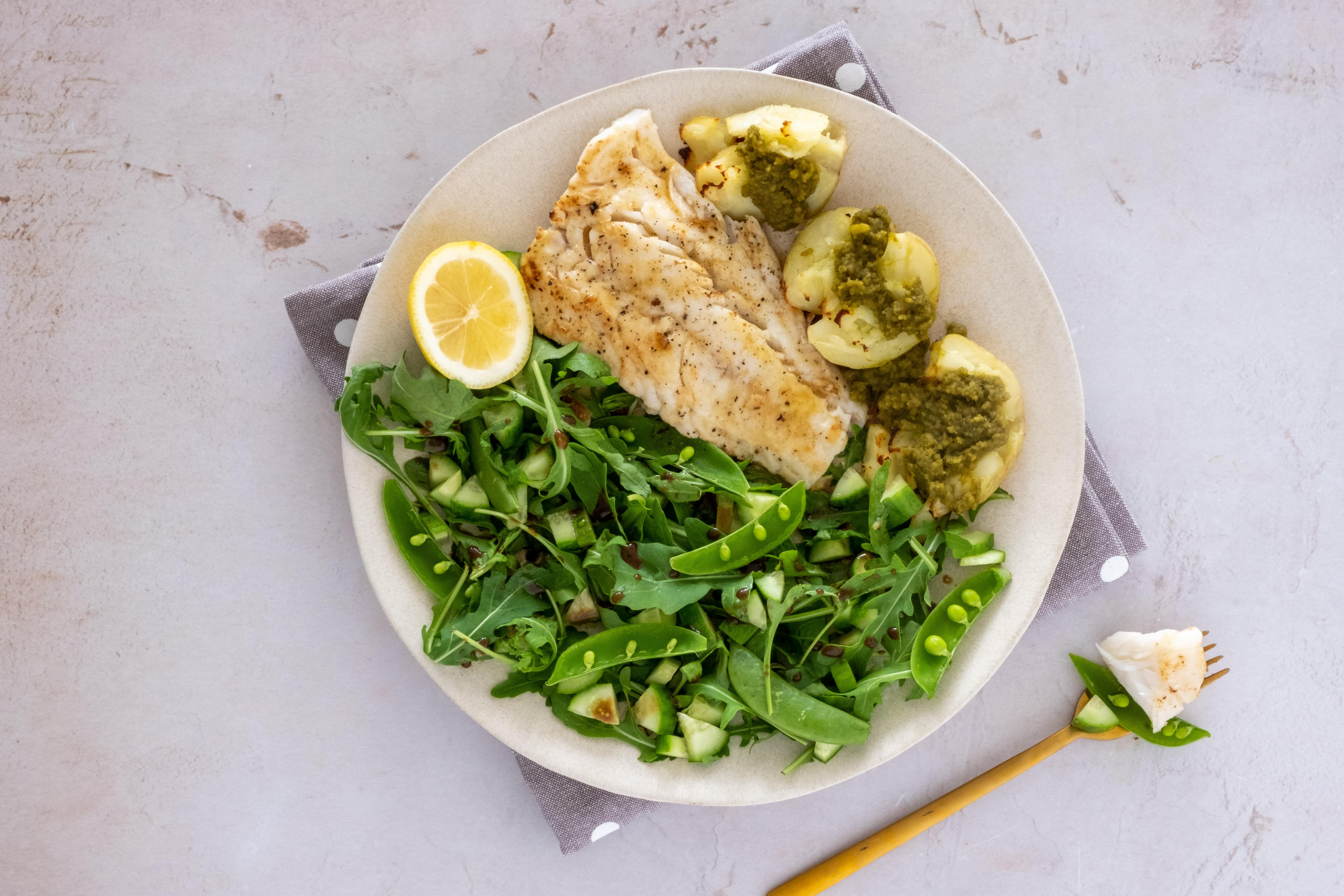 Lemon Butter Cod with Smashed Pesto Potatoes and Crisp Salad