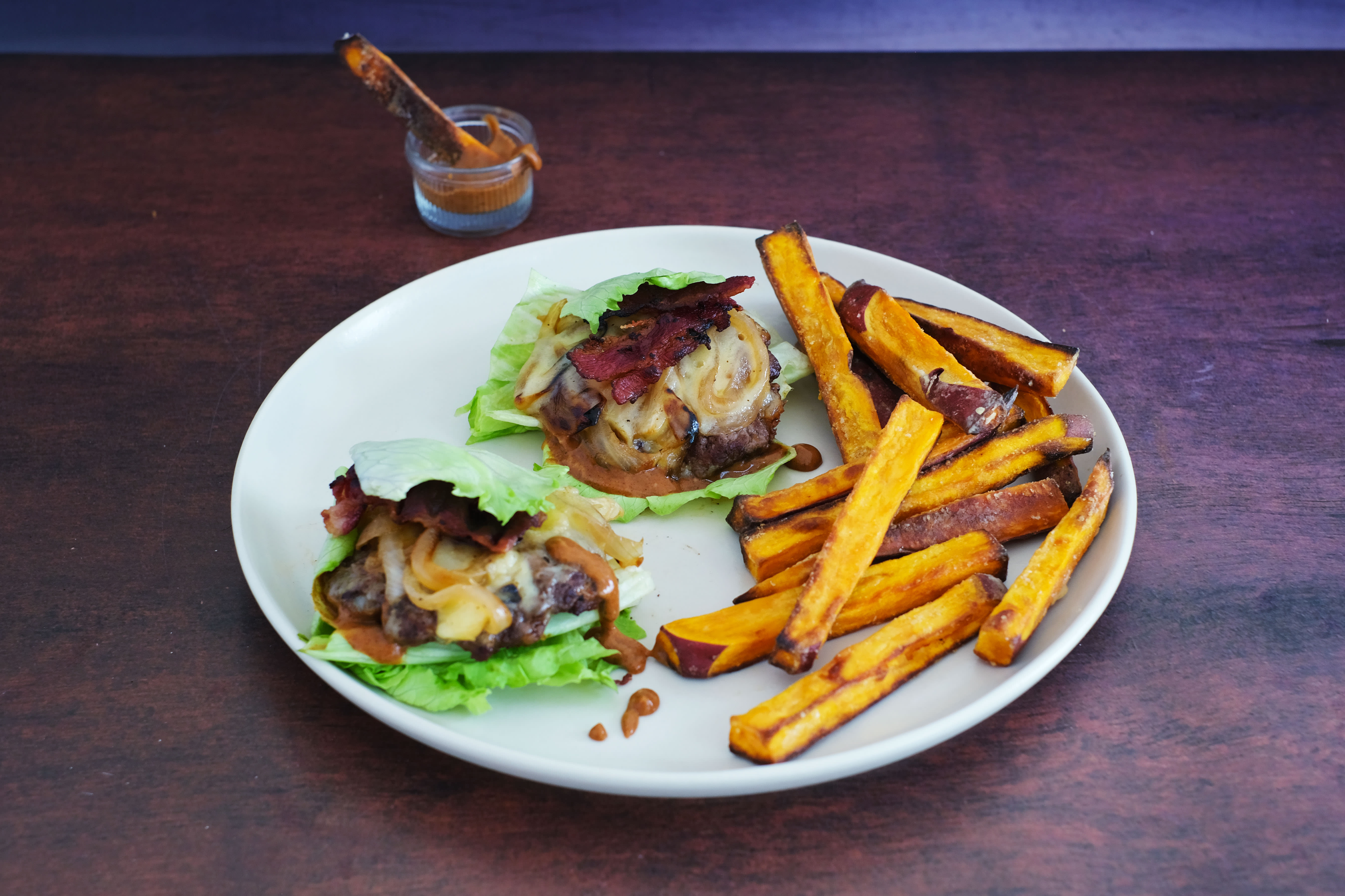 Lettuce Cheese Burger Wraps with Beef Bacon and Secret Sauce