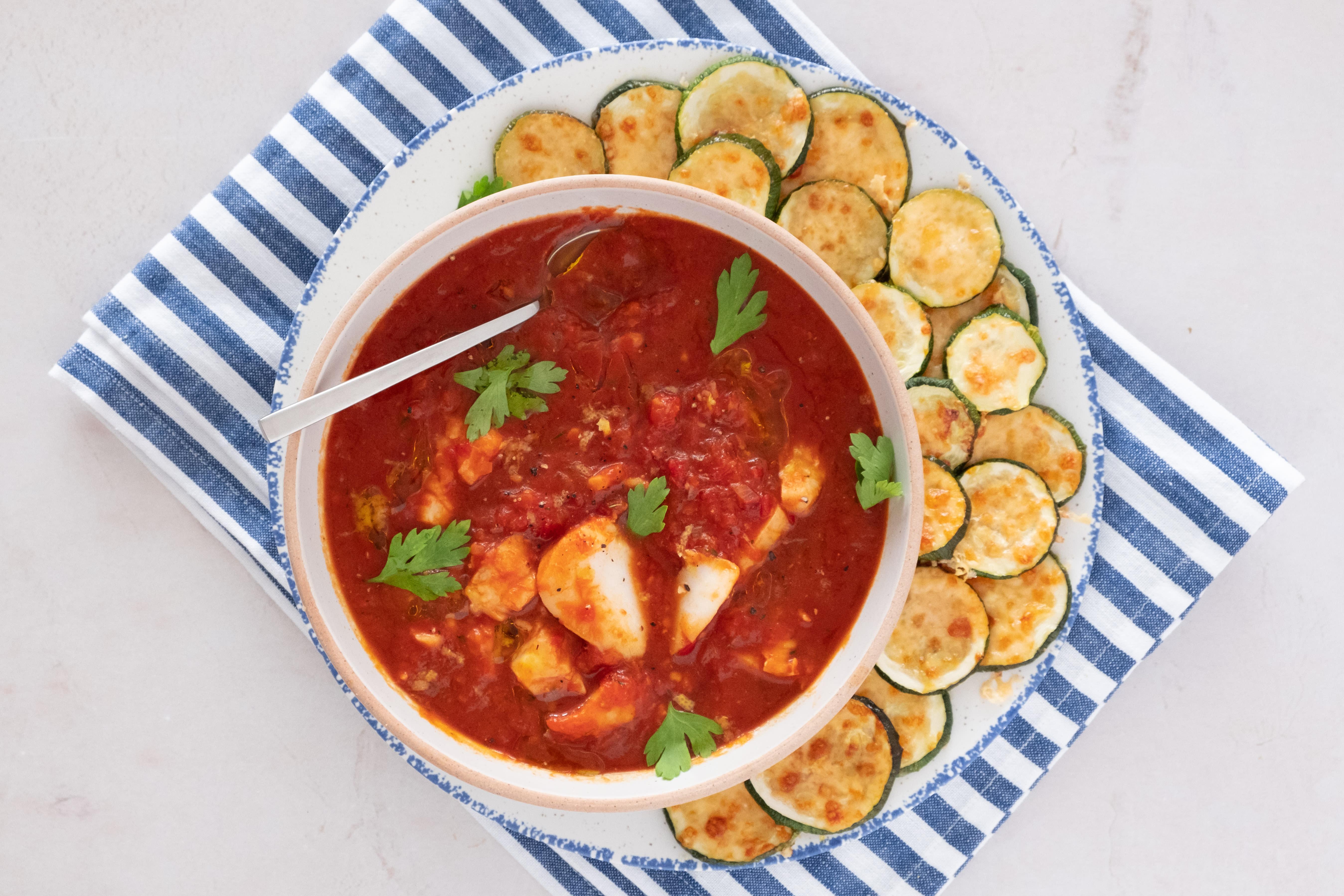 Mediterranean Cod Stew with Zucchini Parmesan Chips