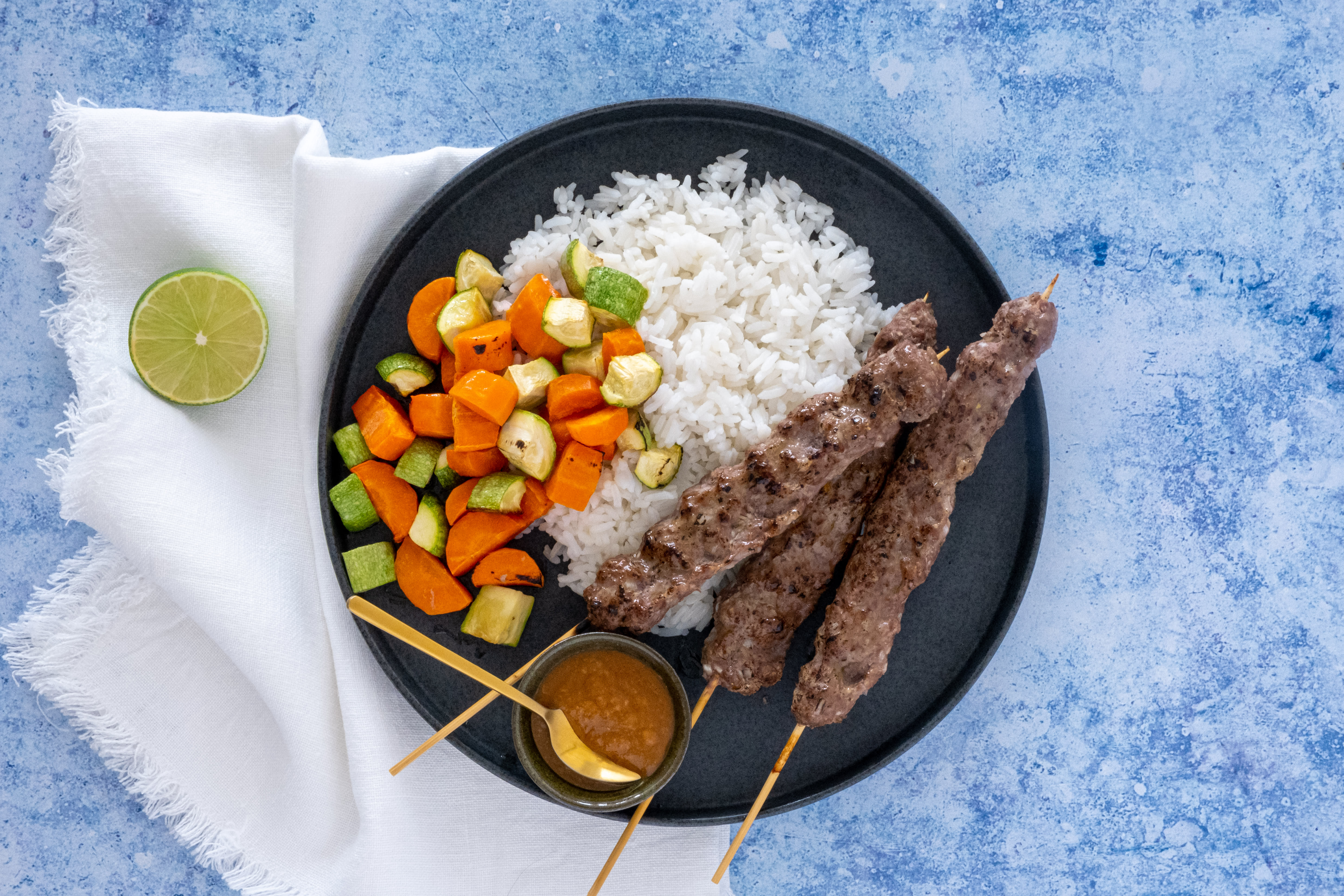 Balinese Beef Kebabs with Peanut Dip and Coconut Rice