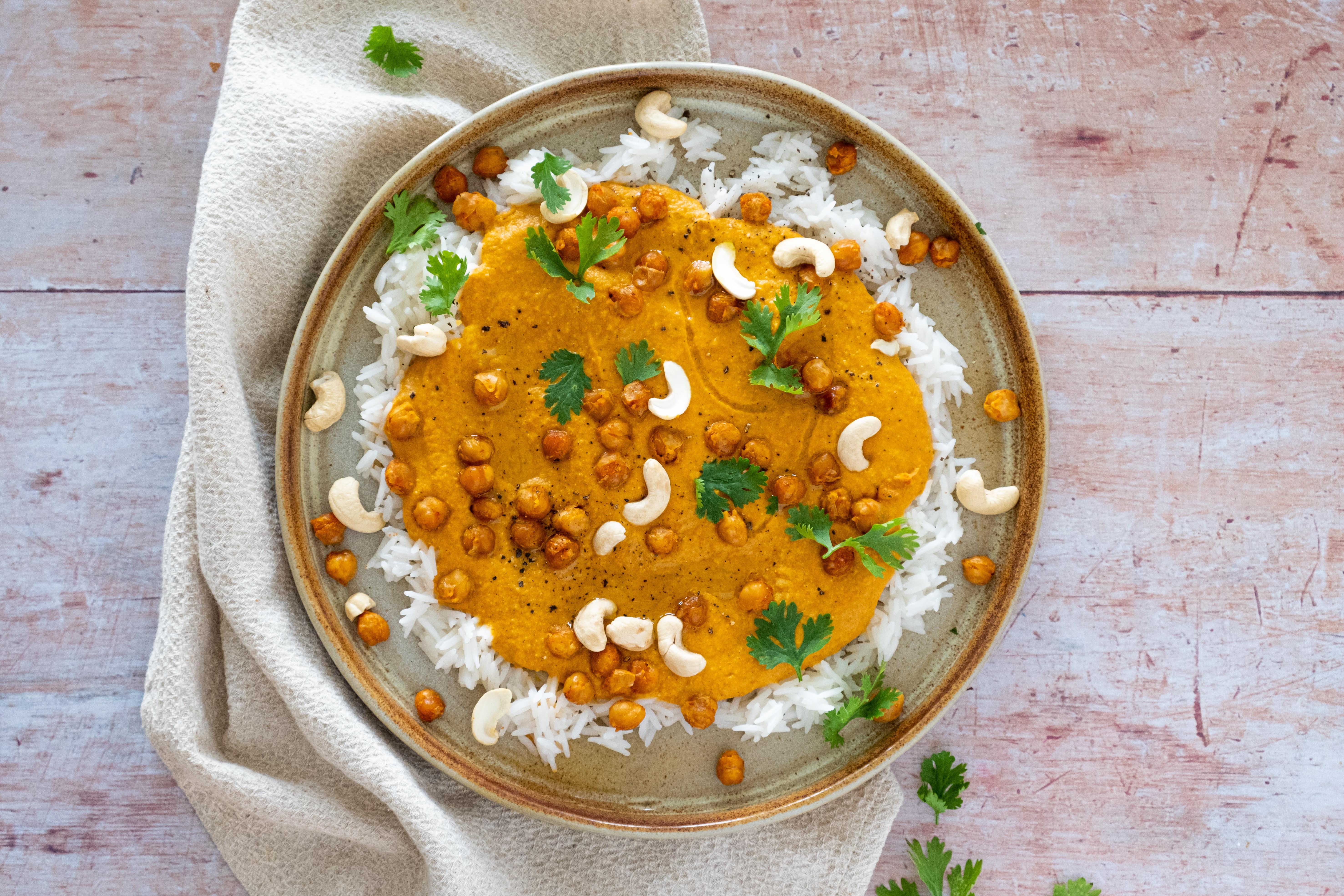 Roasted Chickpeas in Creamy Tikka Masala Curry