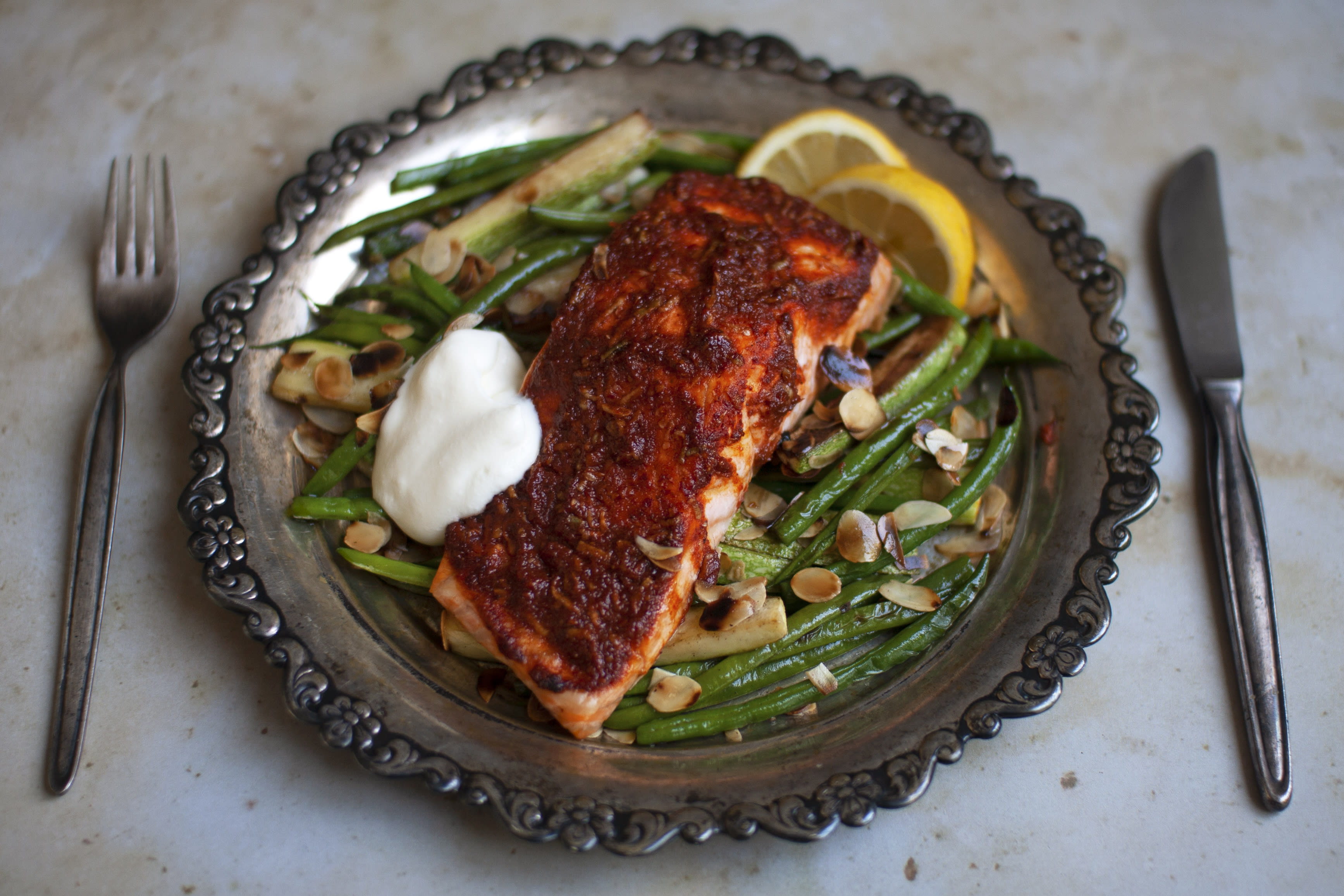 Harissa Salmon with Almond Greens and Greek Yogurt