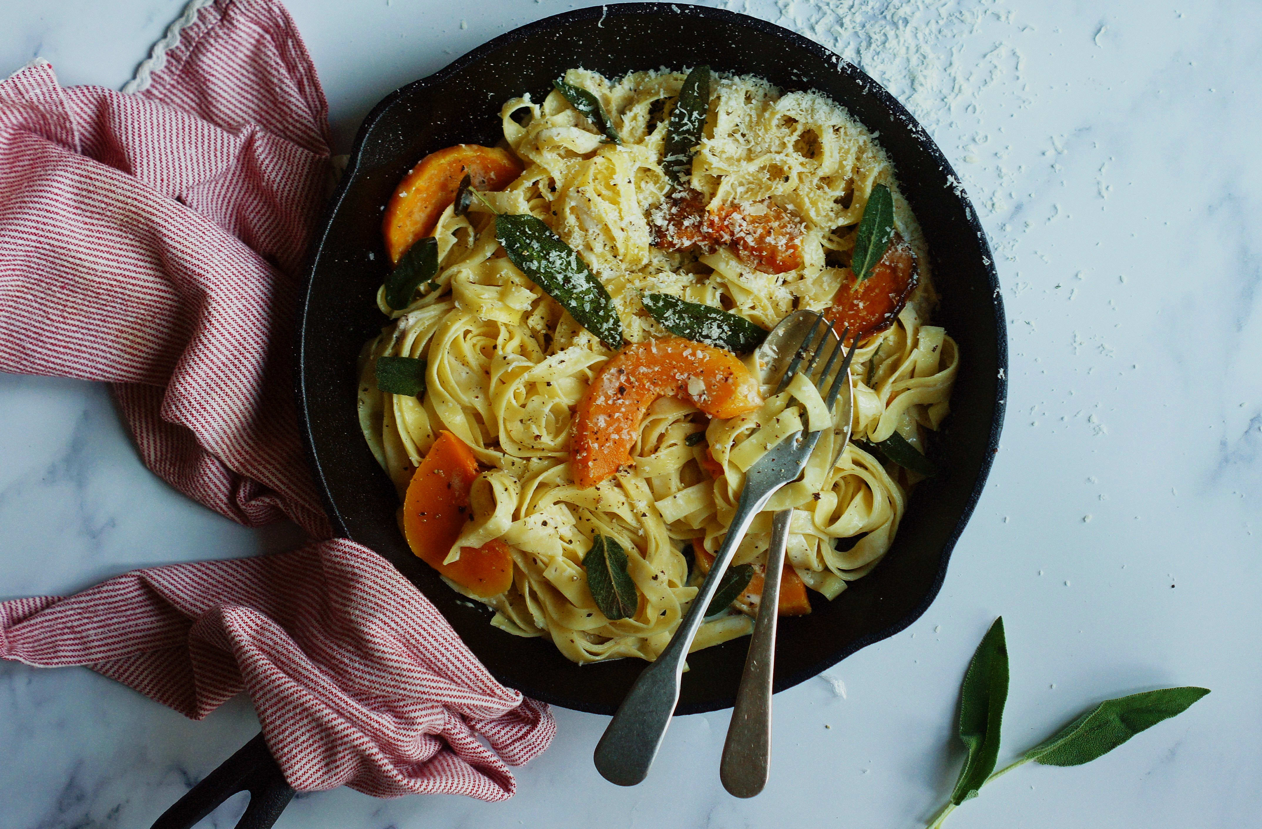 Squash and Sage Carbonara with Pine Nuts