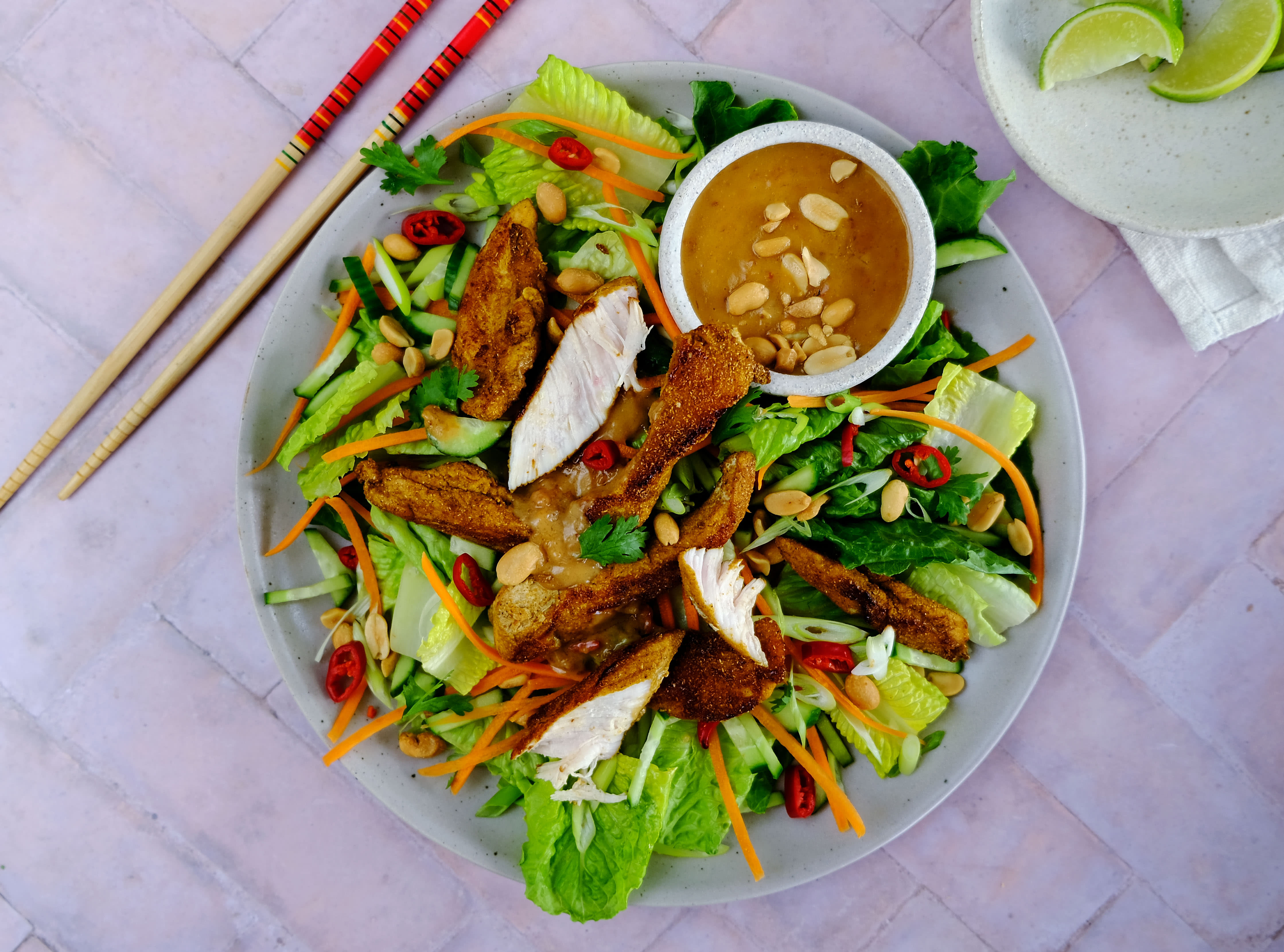 Chicken Satay Salad with Peanuts and Carrot