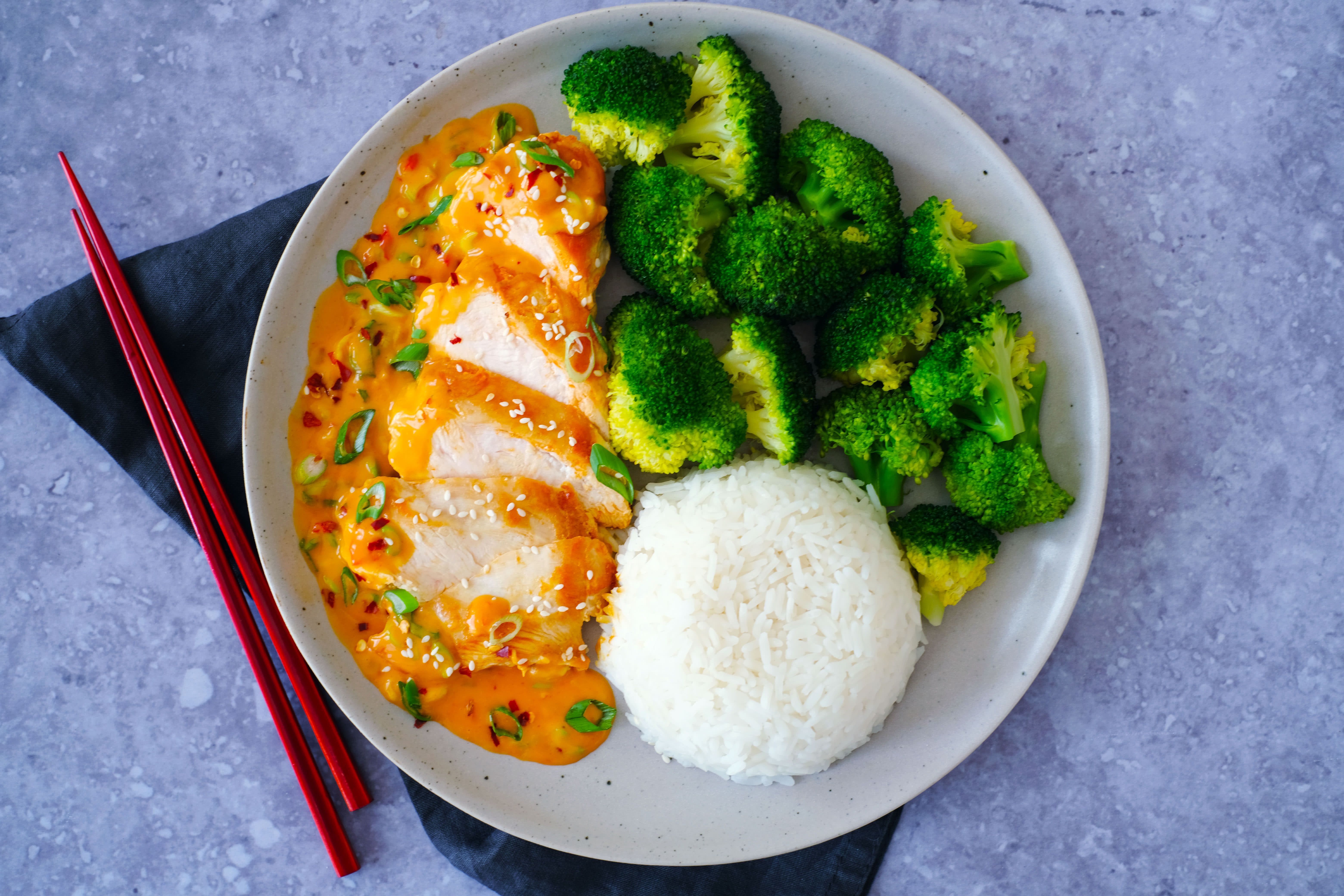 Firecracker Mayo Chicken with Broccoli and Rice