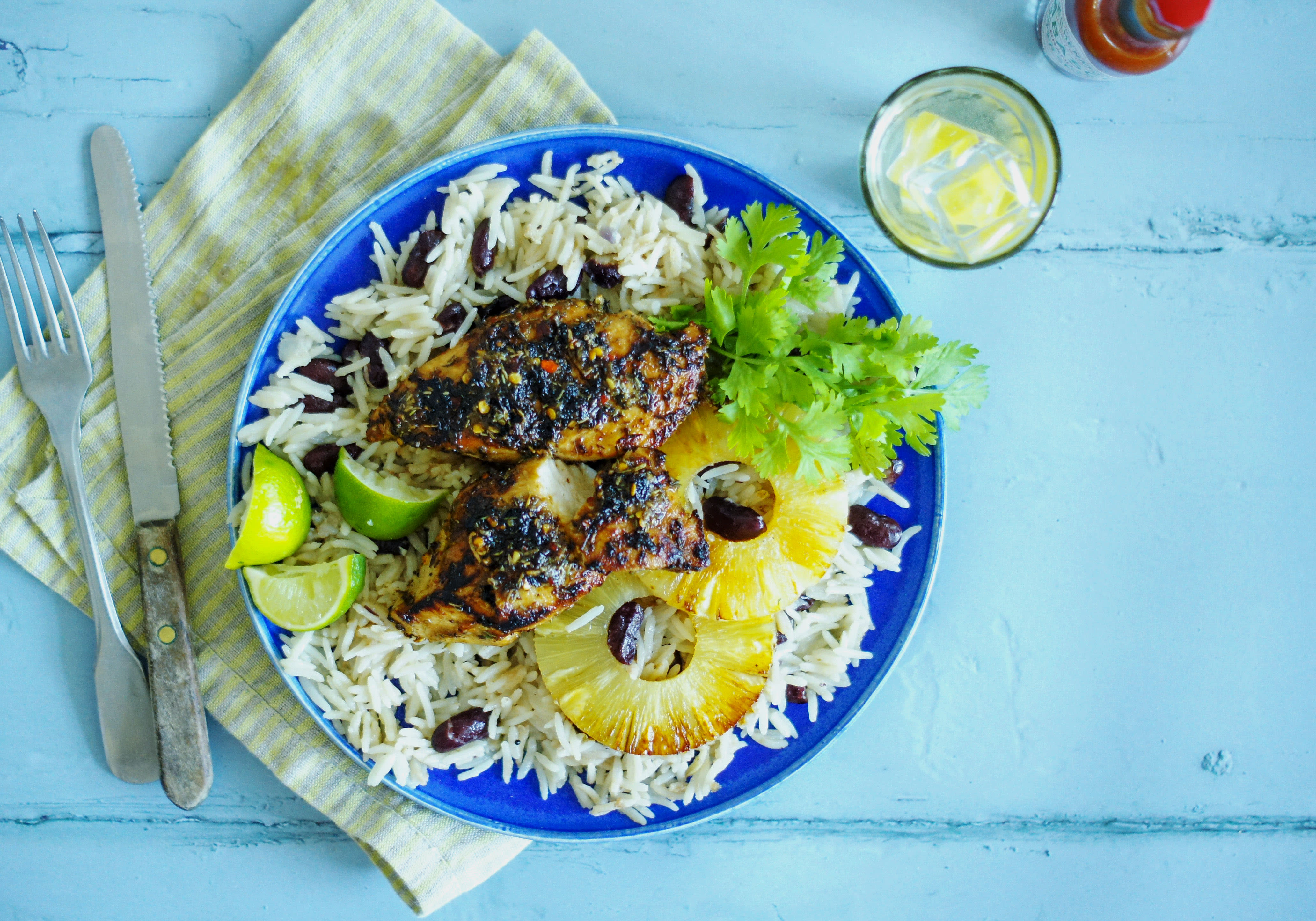 Jerk Chicken with Pineapple and 'Peas 'n' Rice'
