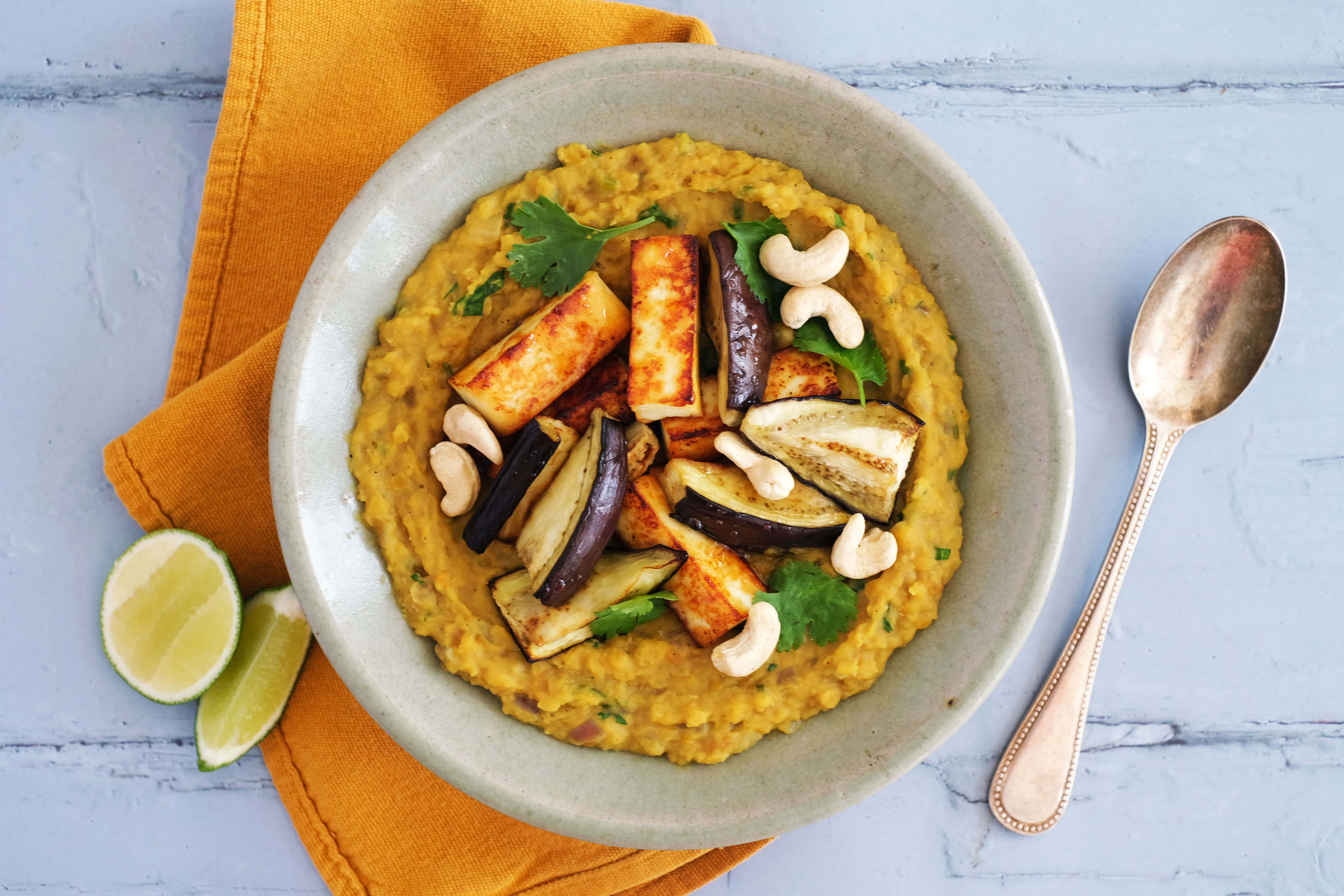 Coconut Dal with Paneer and Eggplant