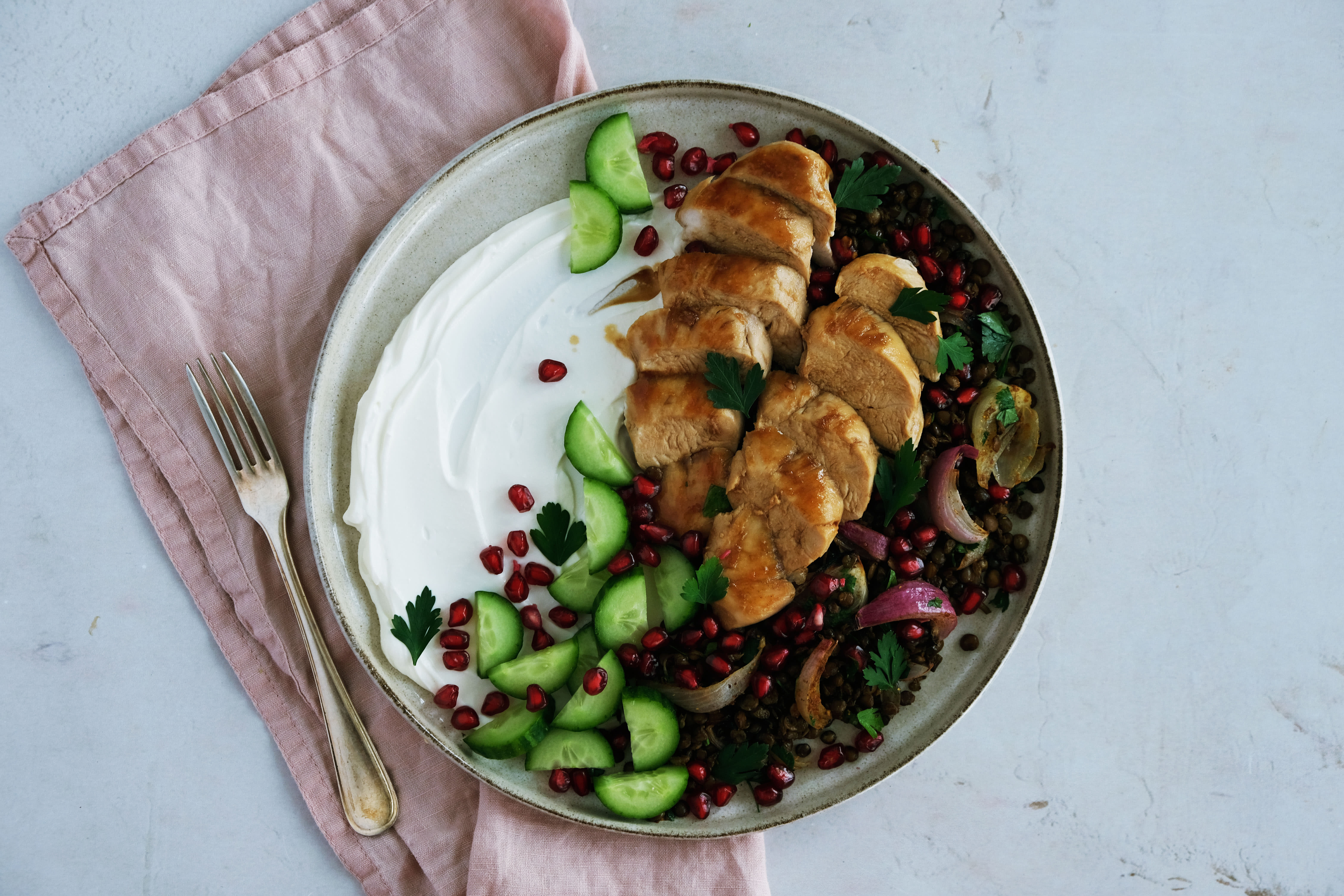 Pomegranate Chicken with Spiced Lentils and Labneh