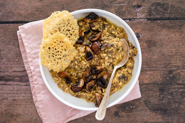 Classic Mushroom Risotto with Parmesan Crisp