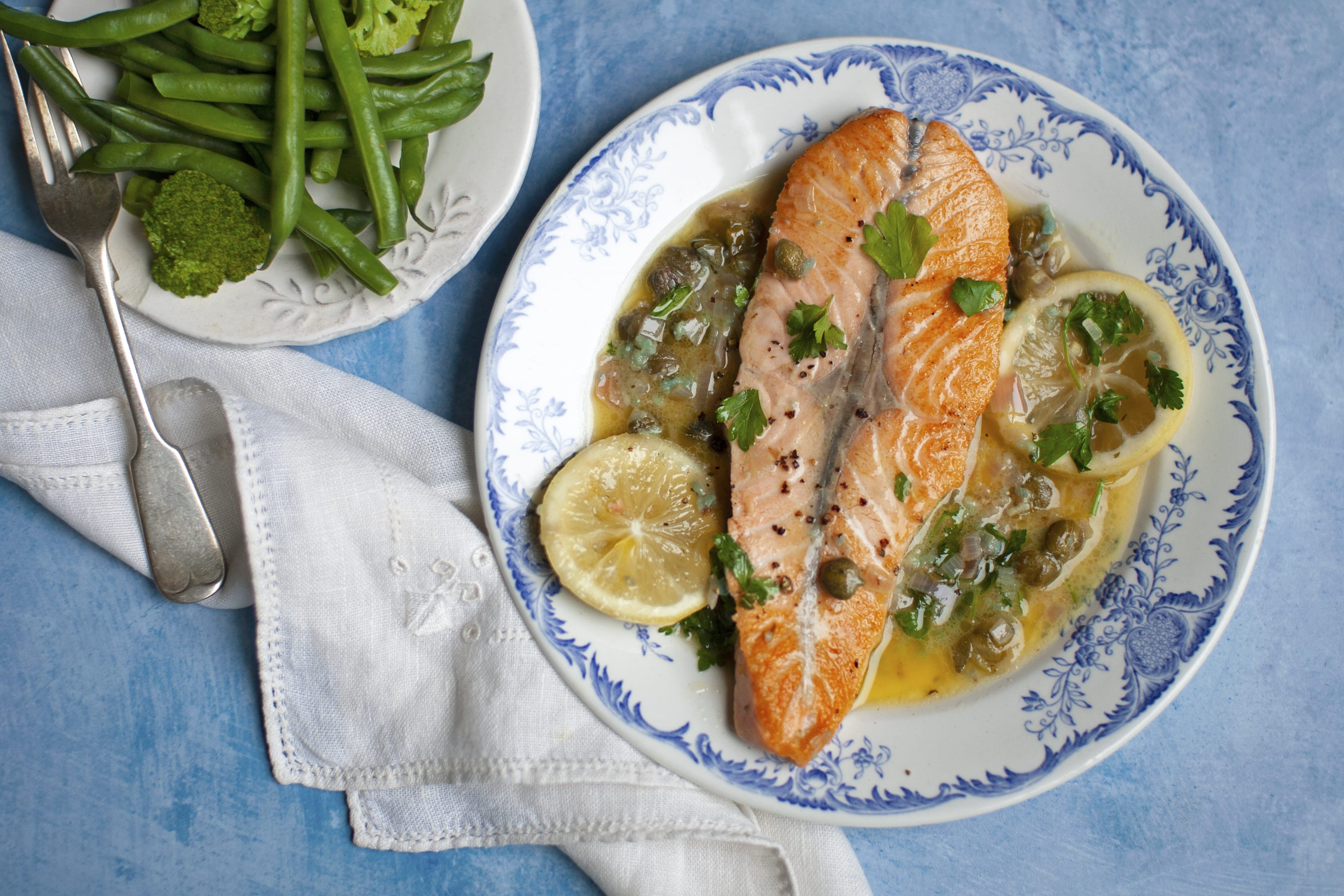 Salmon in Lemon Butter Sauce with Green Vegetables