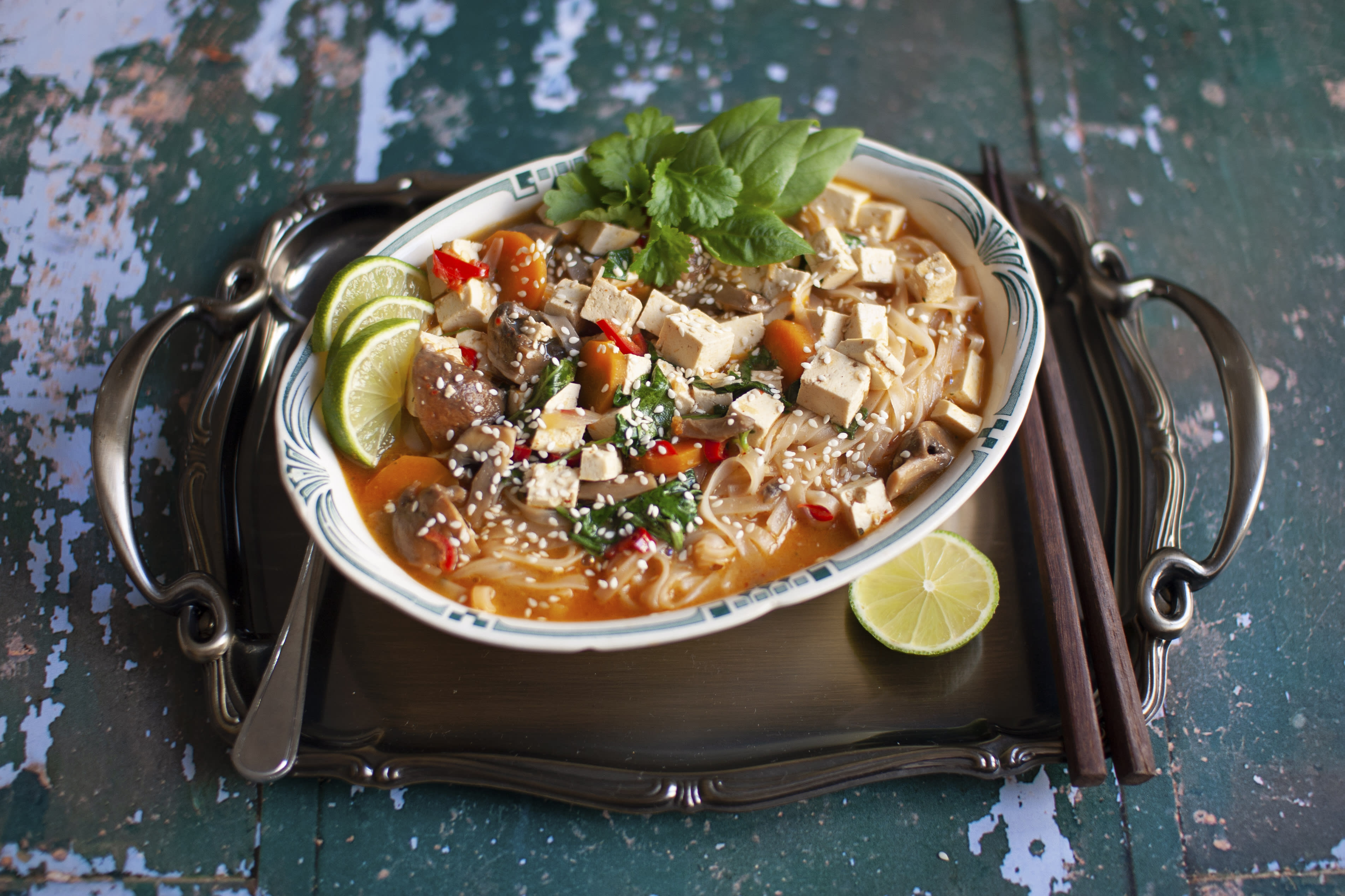 Thai Red Curry Tofu and Noodle Soup