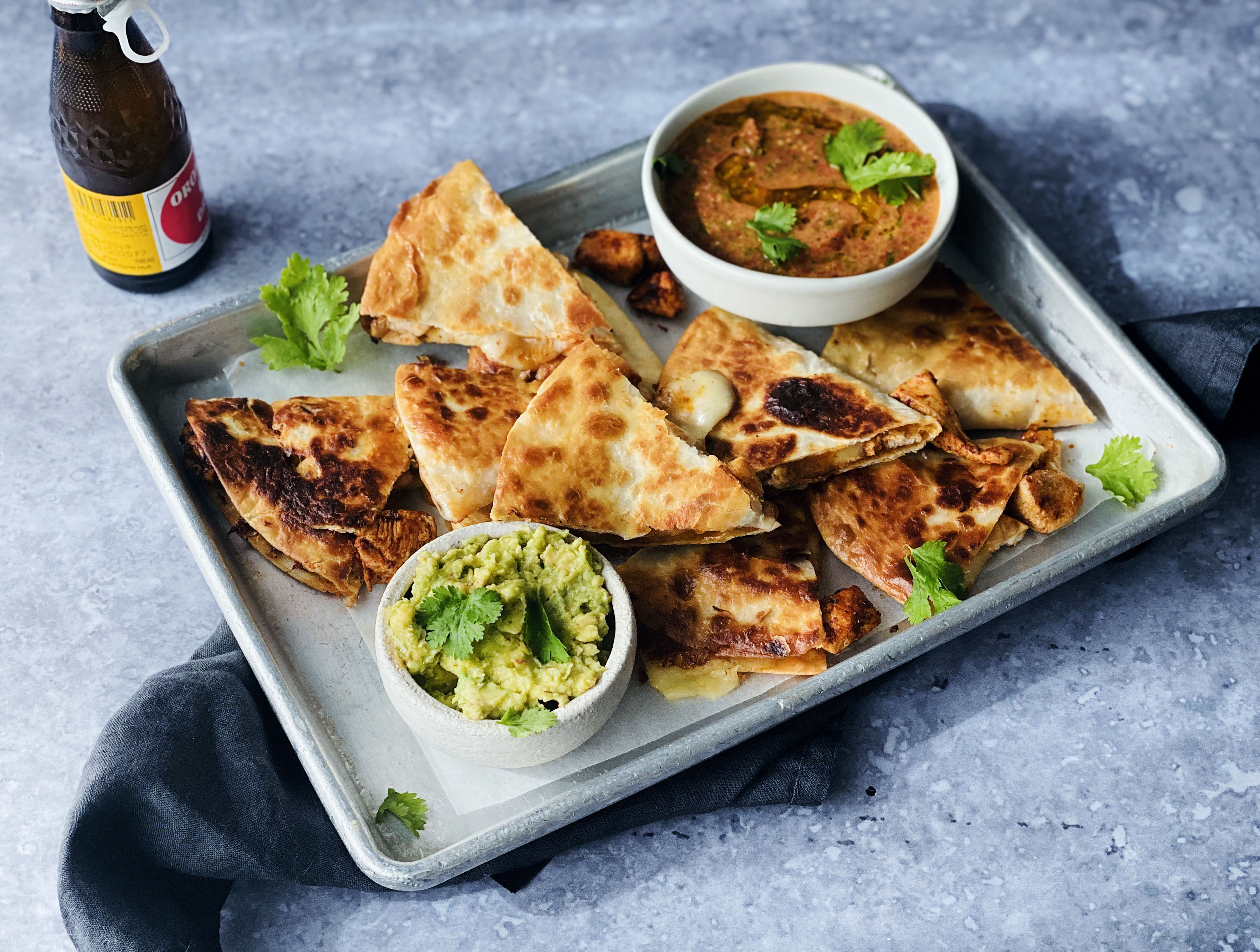 Smoky Chicken Quesadillas with Salsa and Smashed Avo