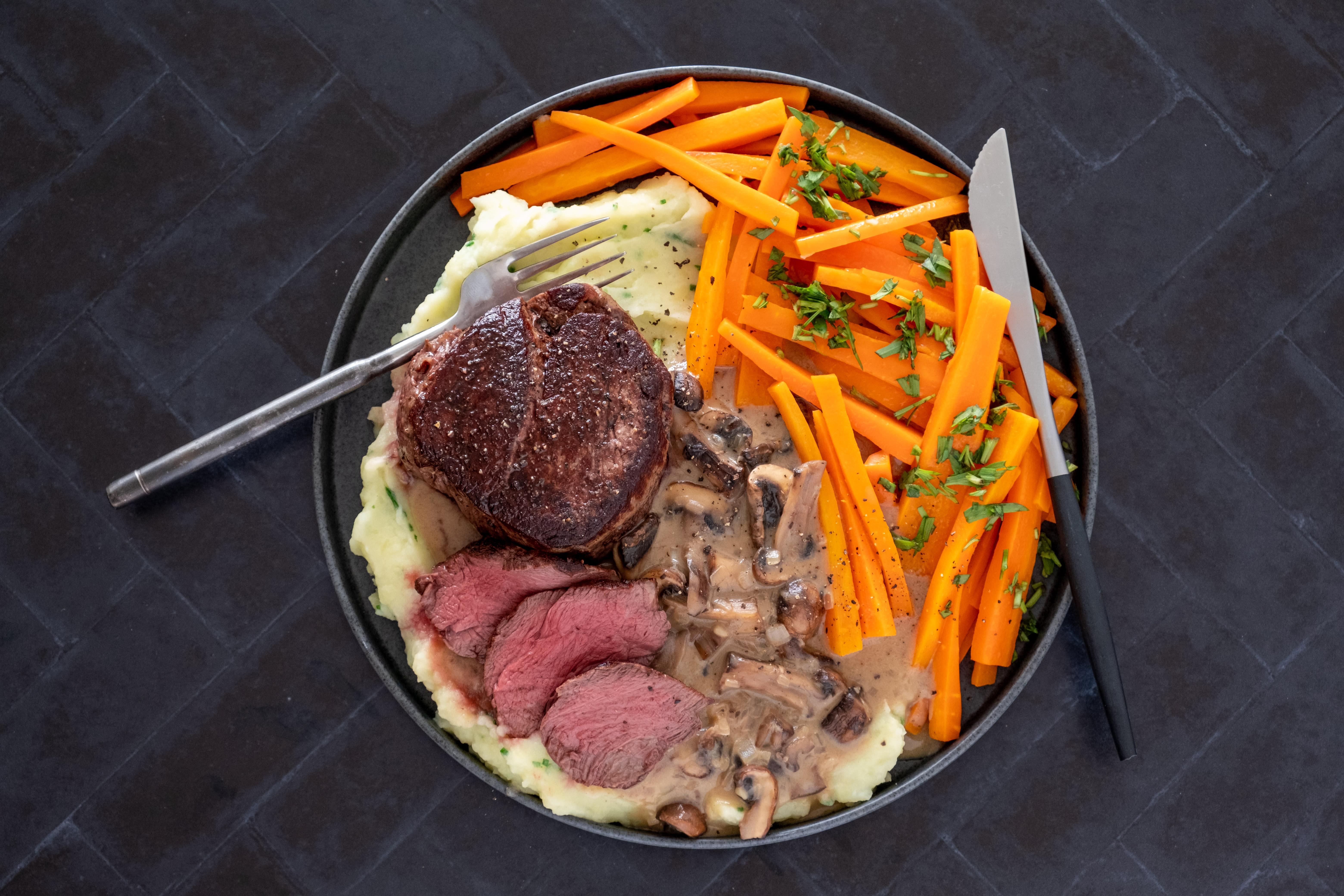 Steak Diane with Garlicky Potato Mash and Tarragon Carrots