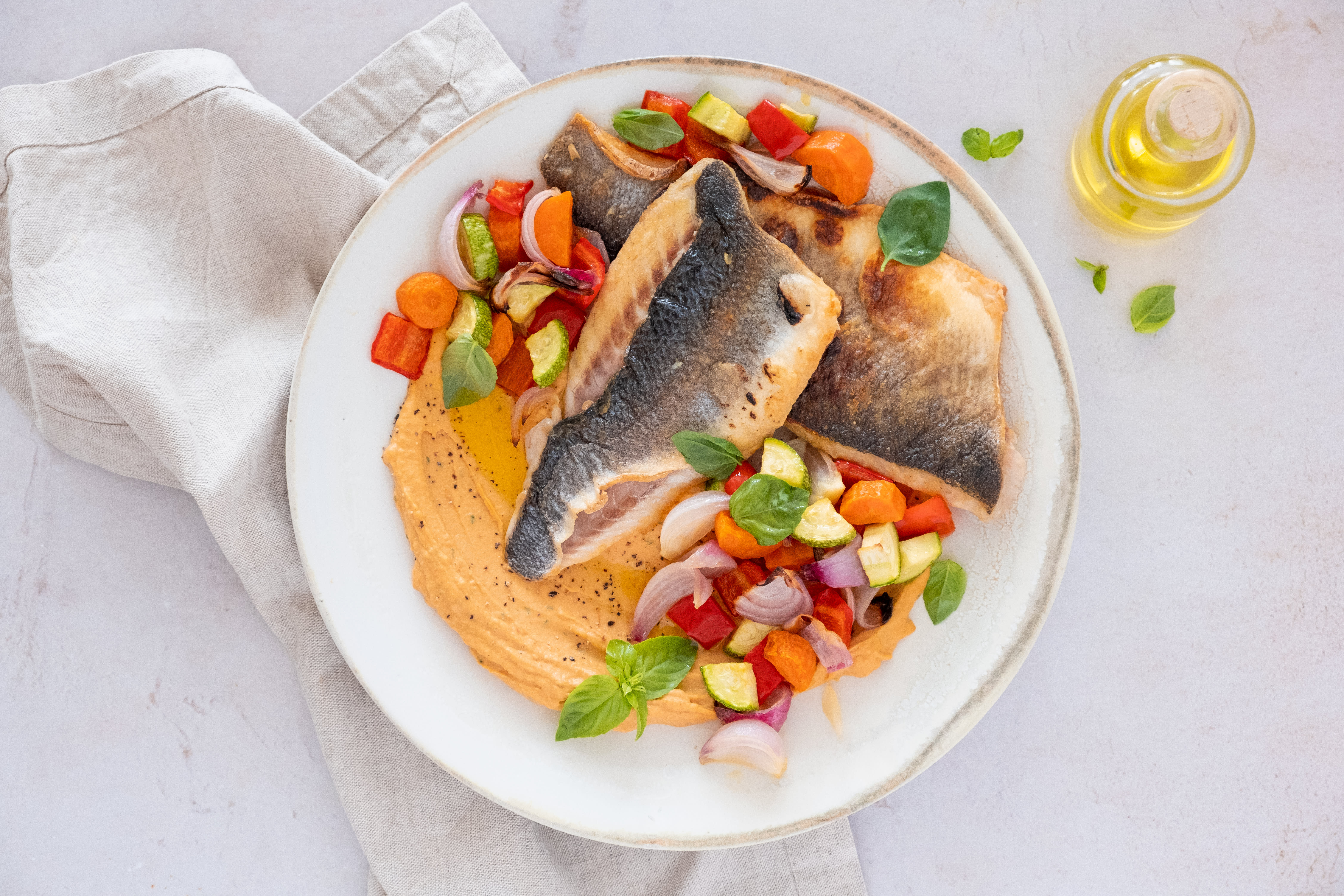 Easy Pan-fried Seabass with Roasted Pepper Hummus and Veg